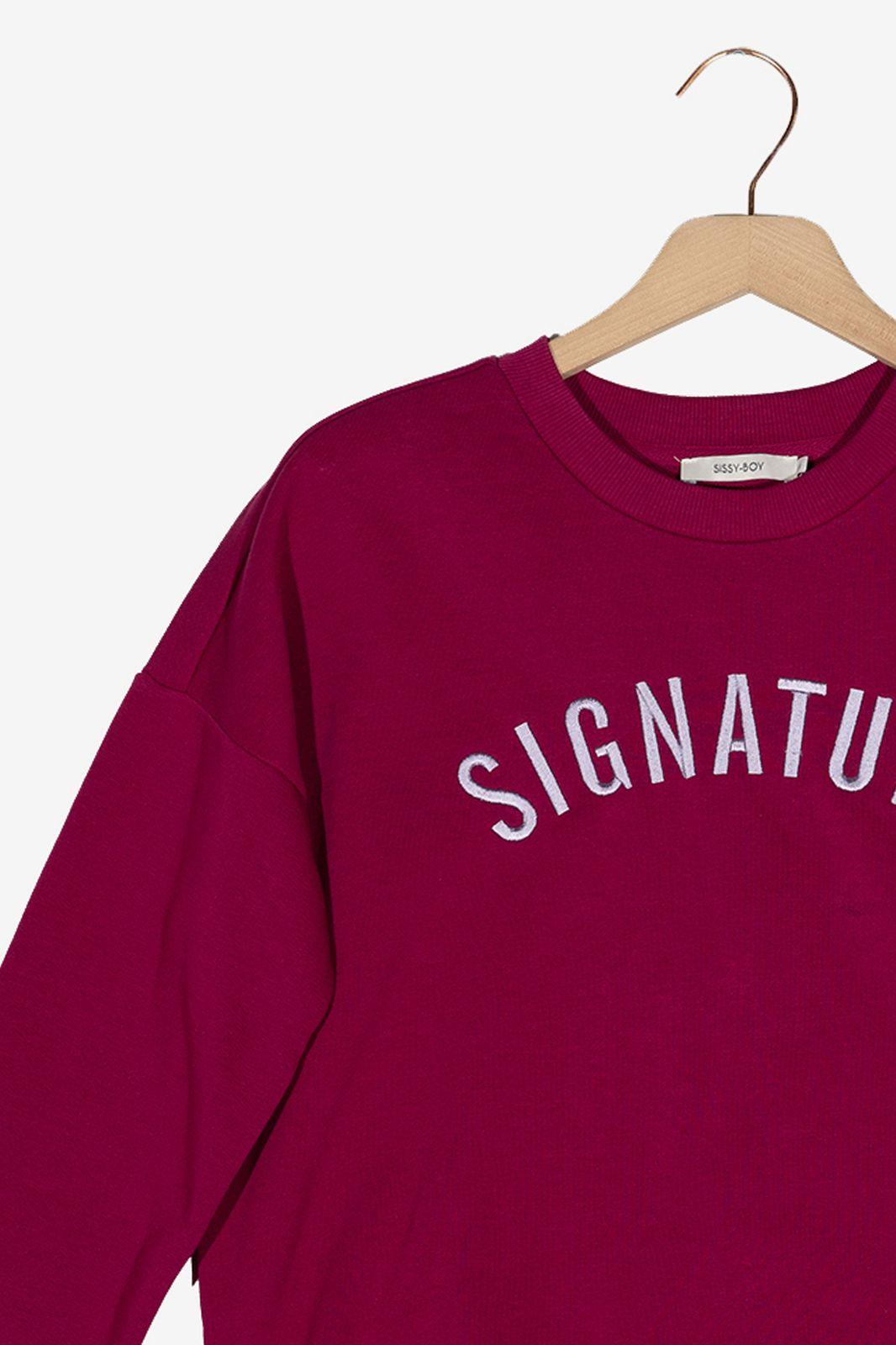 Donkerroze sweater Signature