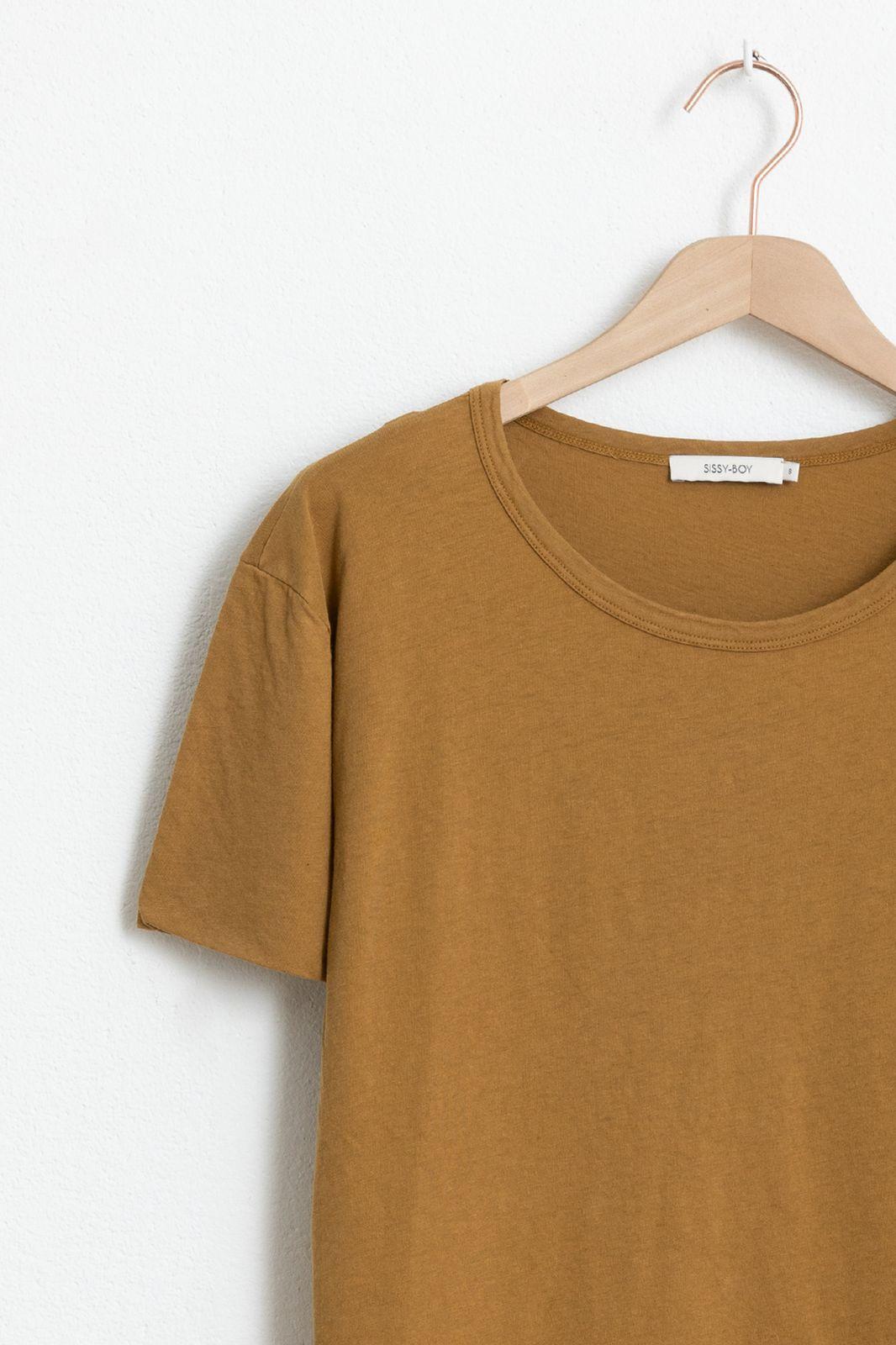 Geel basic T-shirt met ronde hals - Dames | Sissy-Boy