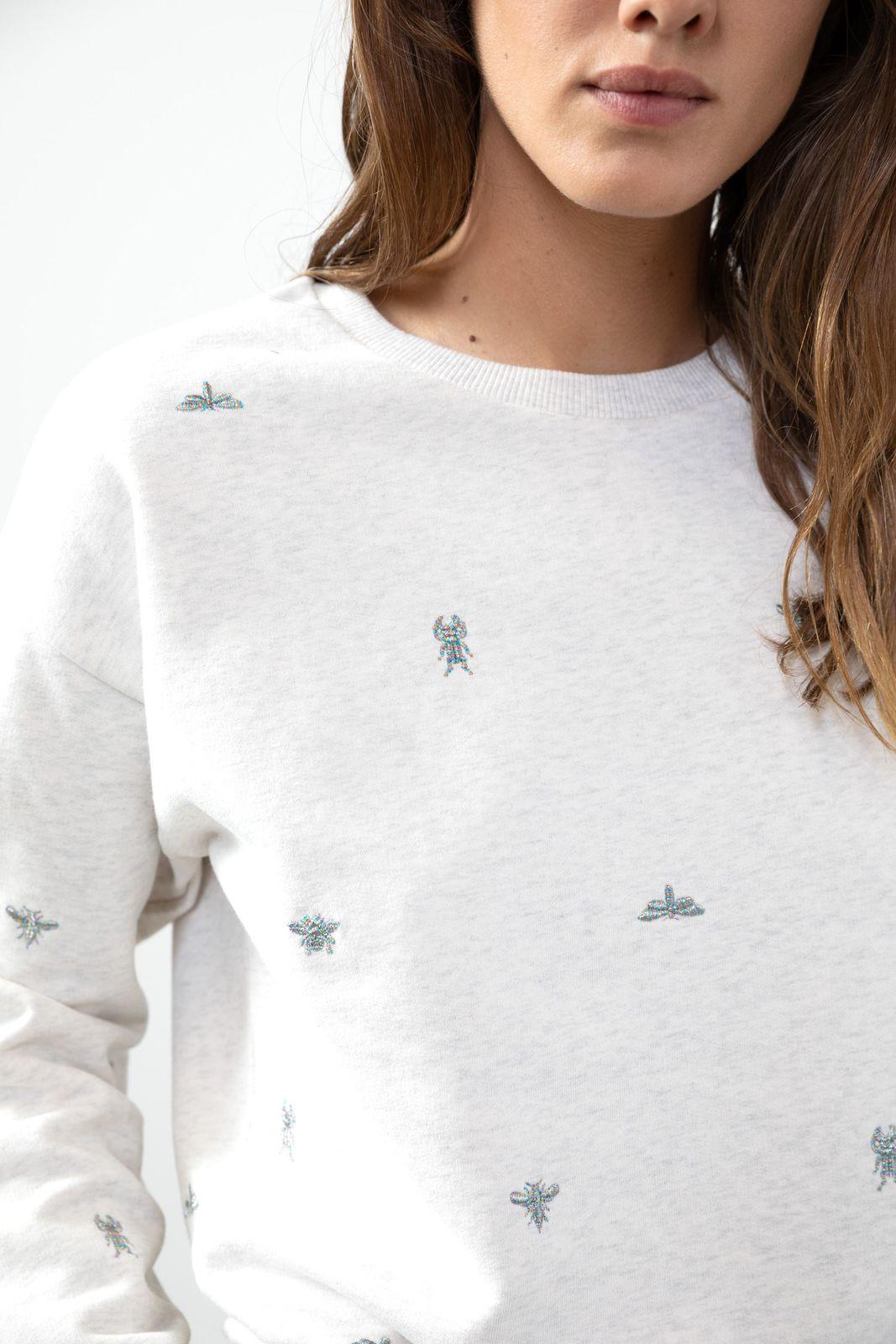 Lichtgrijze sweater met borduursels - Dames | Sissy-Boy
