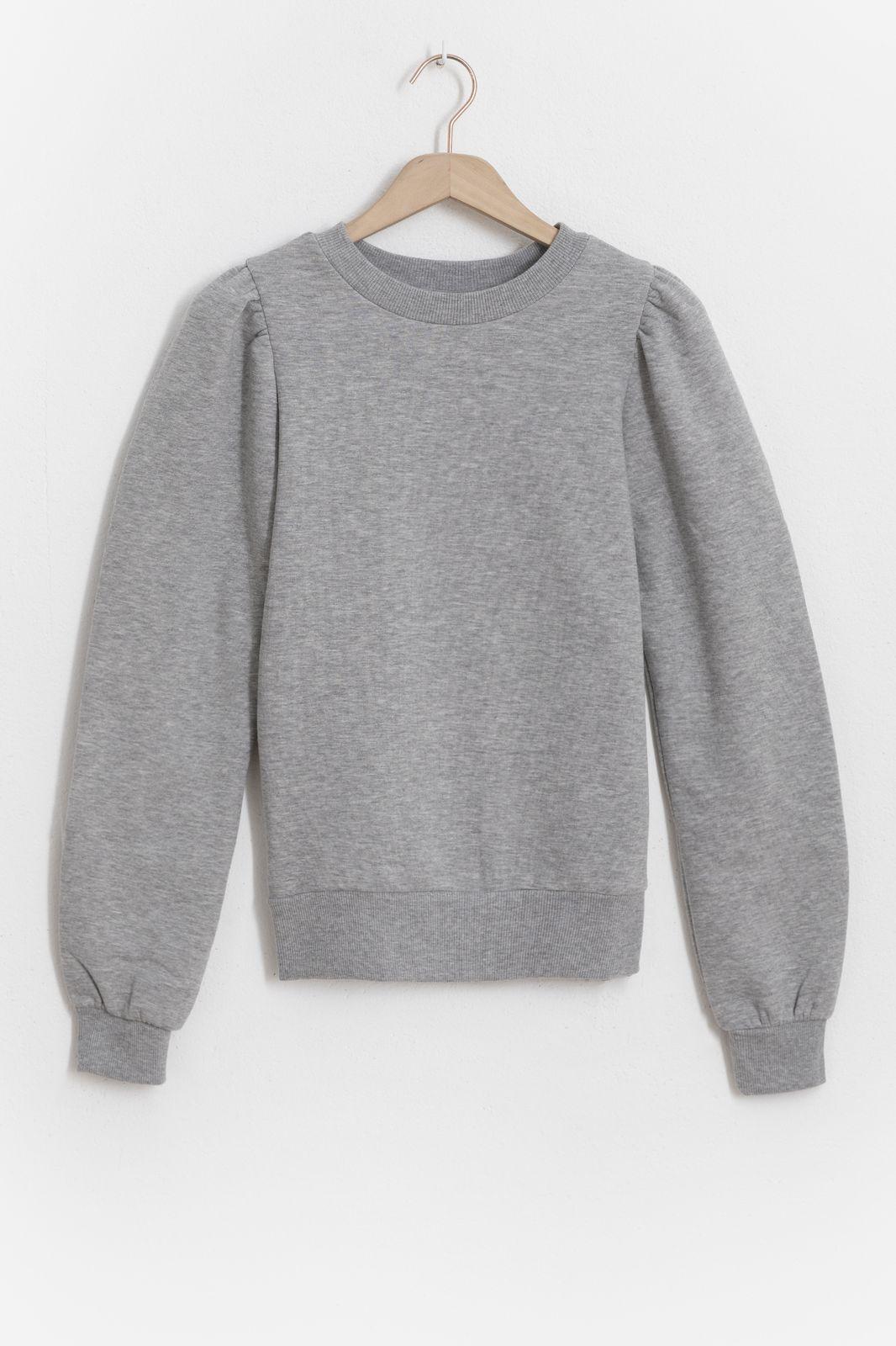 Grijze sweater met pofmouwen - Dames | Sissy-Boy