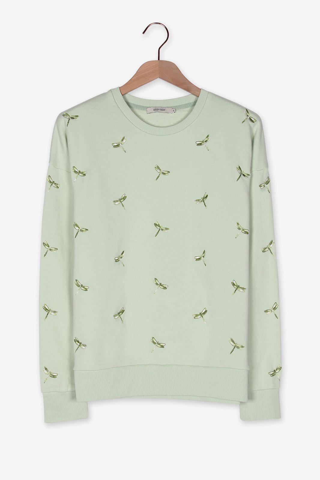 Lichtgroene sweater met libelles