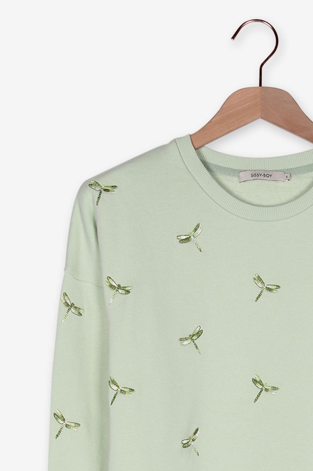 Lichtgroene sweater met libelles - Dames | Sissy-Boy
