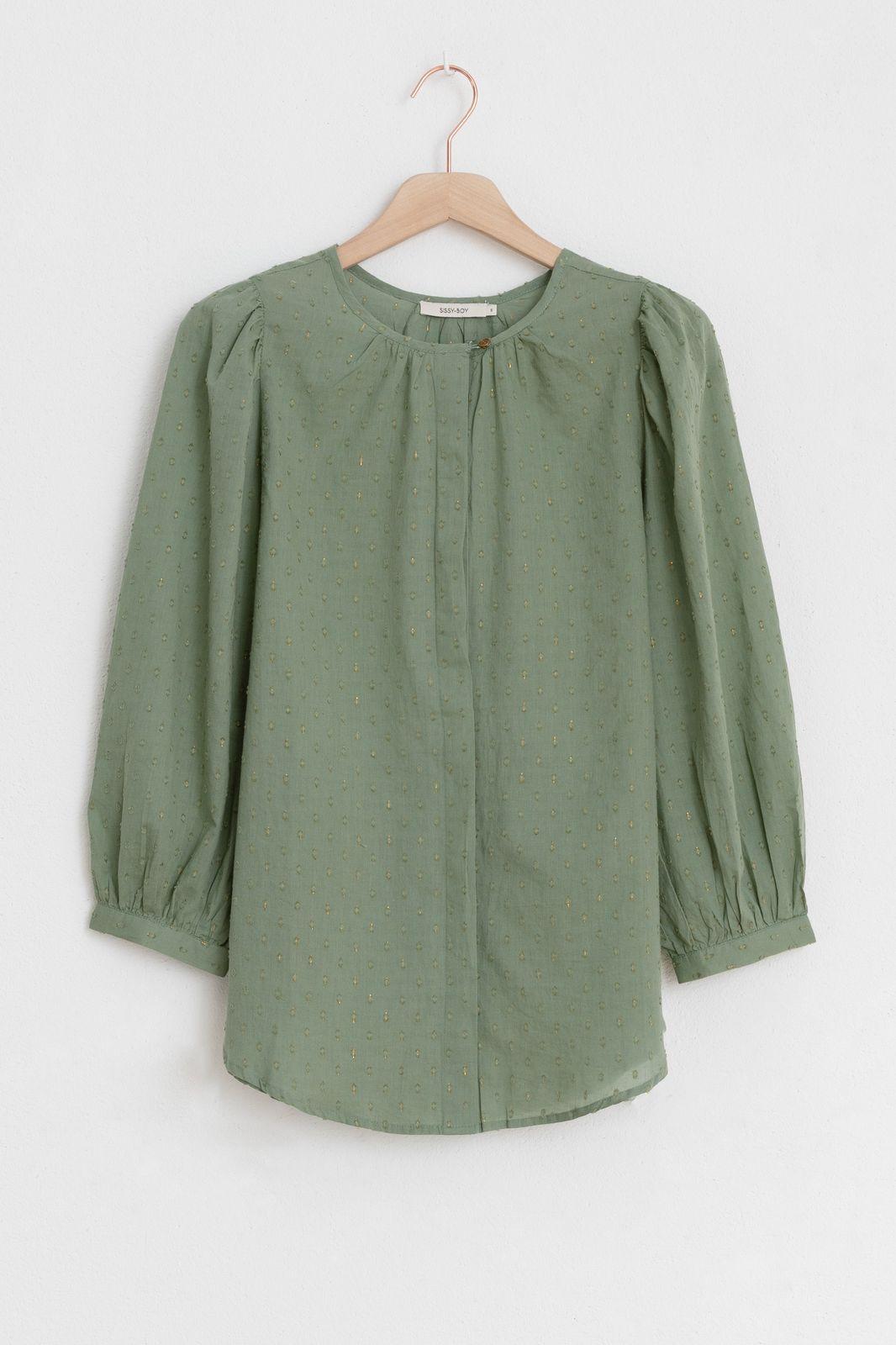 Groene blouse met structuur - Dames | Sissy-Boy
