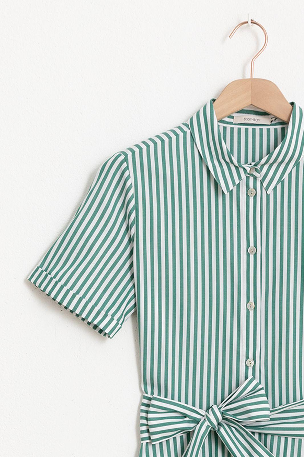 Groen met wit gestreepte maxi jurk