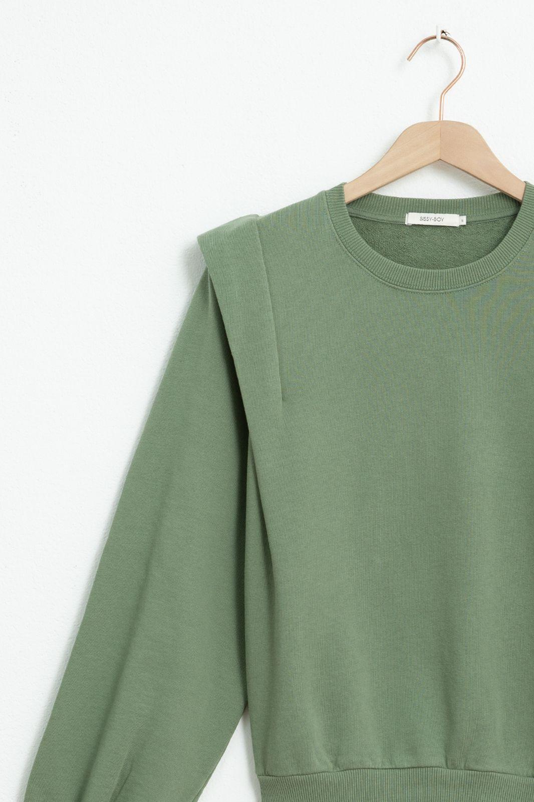 Groene sweater met schouder details