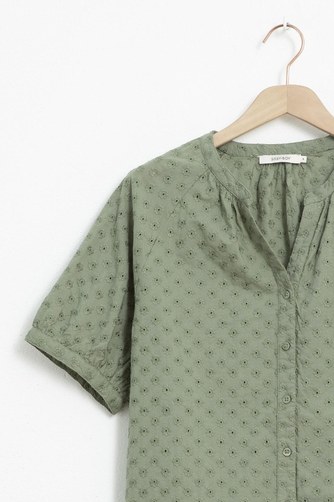 Groen broderie anglaise blouse met ballon mouwen - Dames | Sissy-Boy