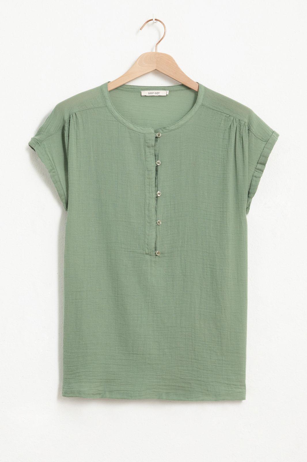 Groen geweven T-shirt - Dames   Sissy-Boy