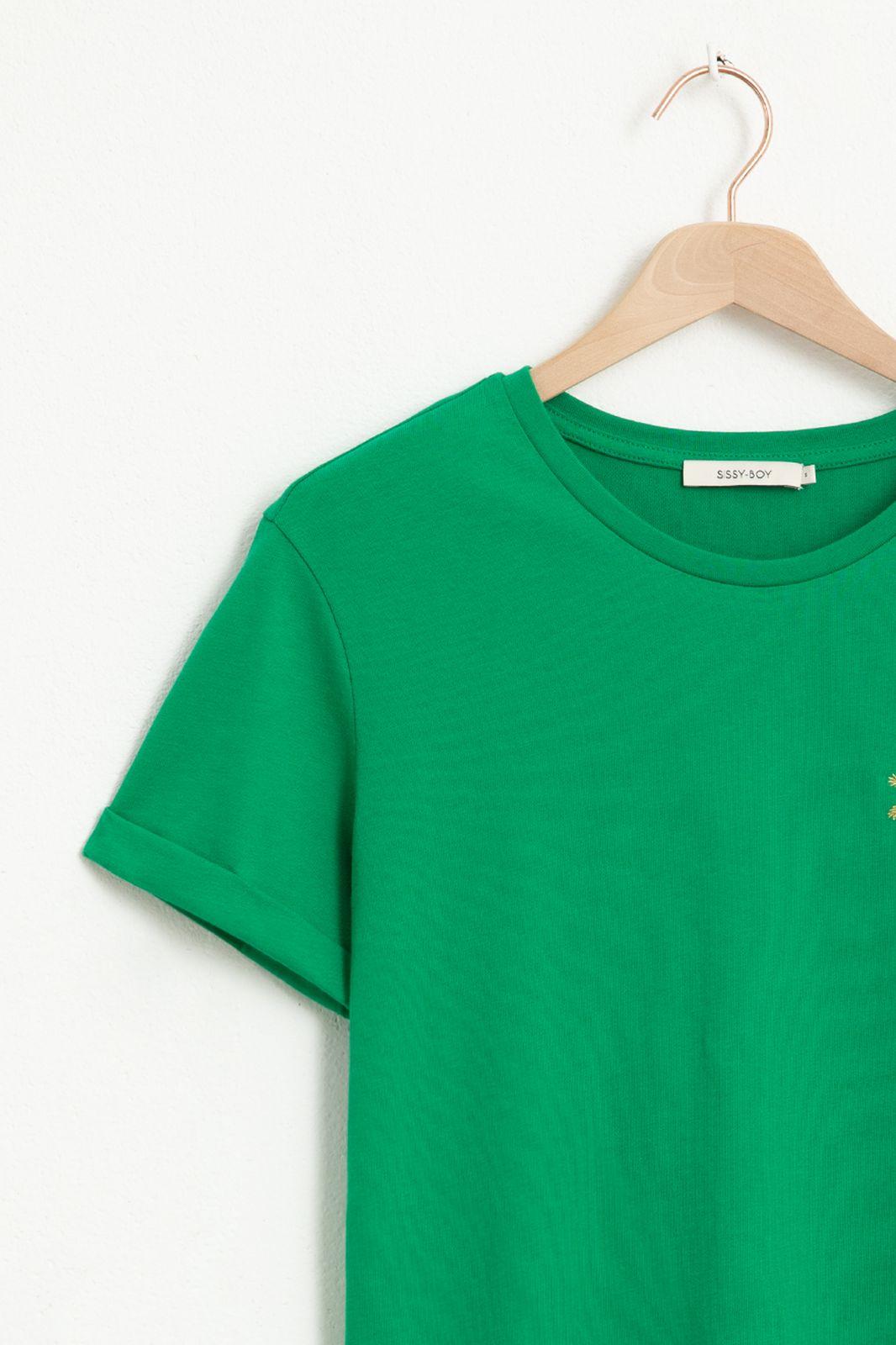Groen T-shirt met palmboom embroidery