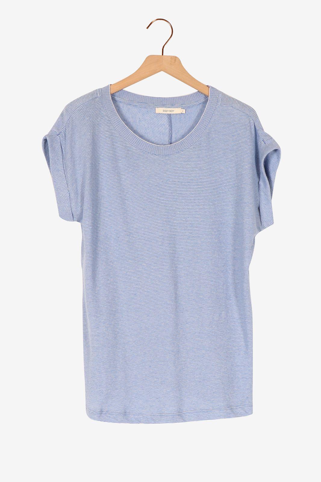Lichtblauw t-shirt gestreept - Dames   Sissy-Boy