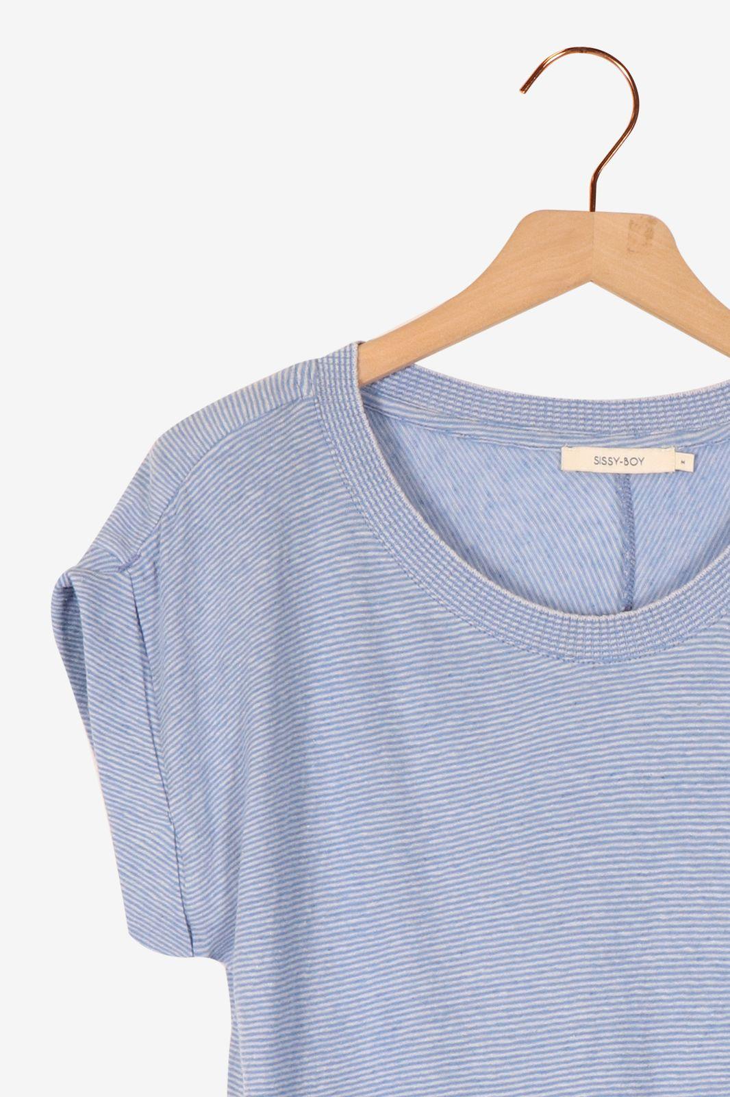 Lichtblauw t-shirt gestreept - Dames | Sissy-Boy