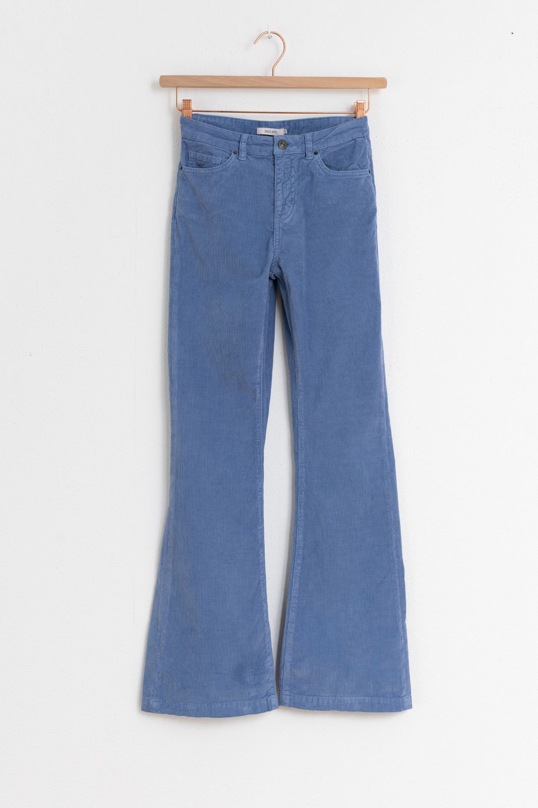 Lichtblauwe flared broek rib