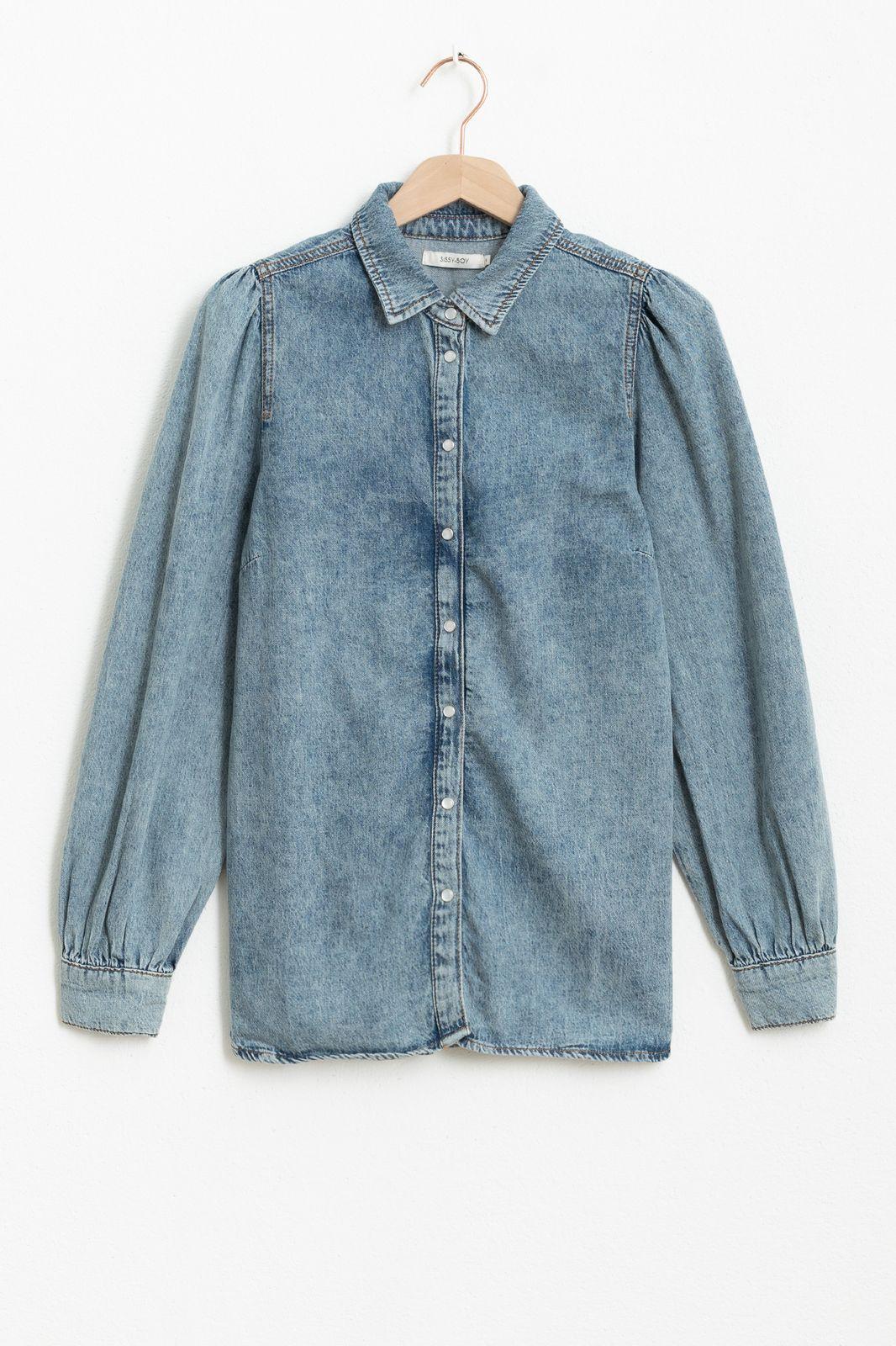 Denim blouse met pofmouw - Dames | Sissy-Boy