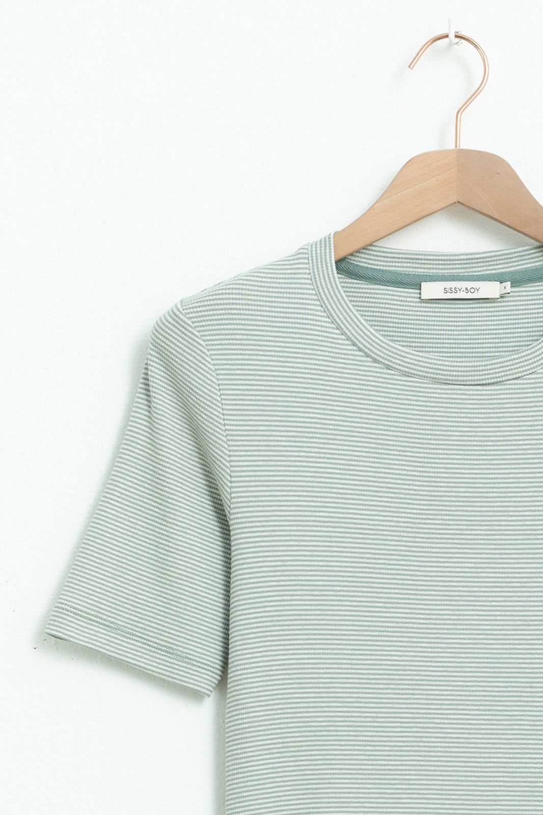 Lichtblauw gestreept rib T-shirt - Dames | Sissy-Boy