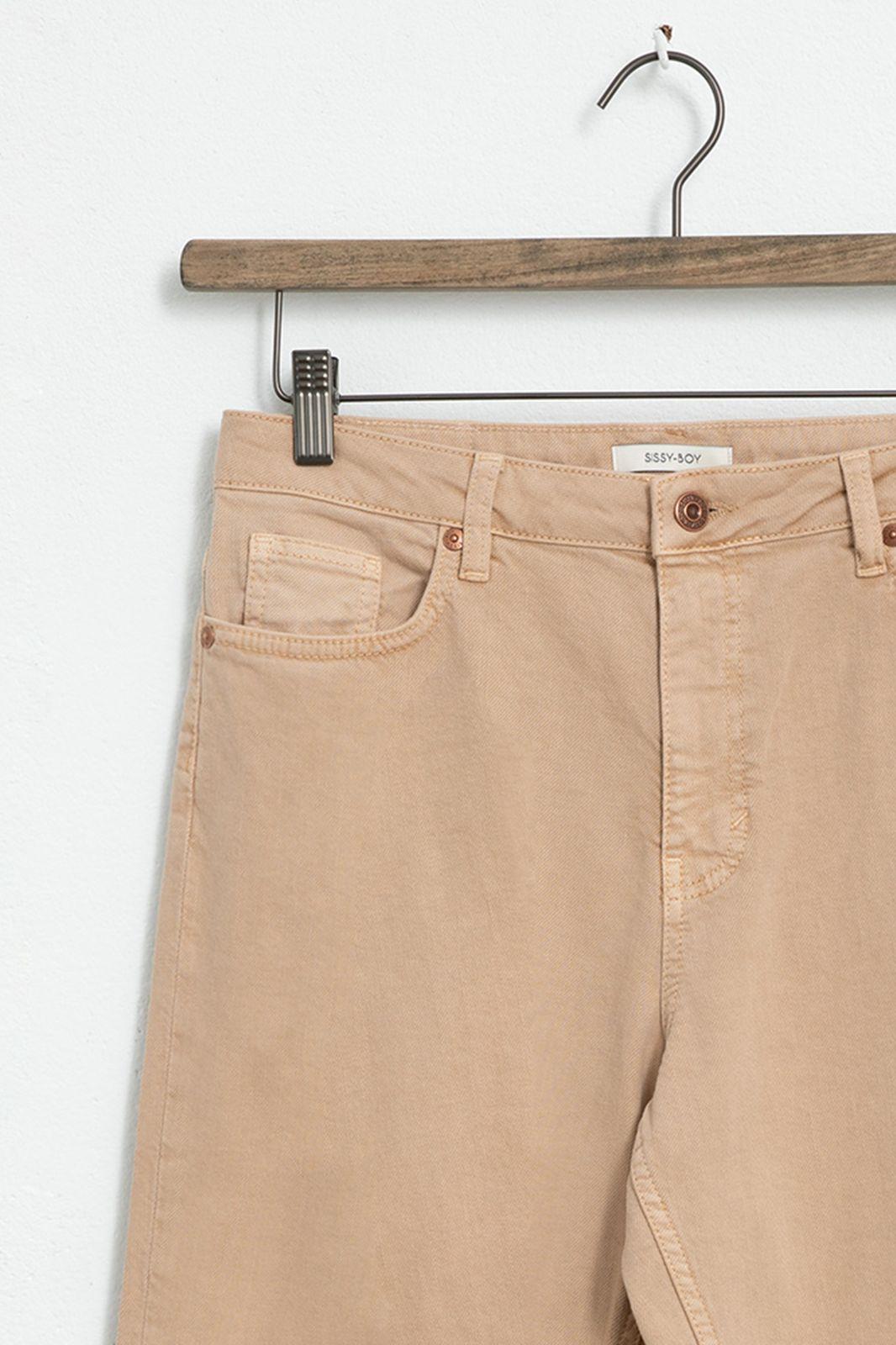 Beige high waist 5-pocket jeans