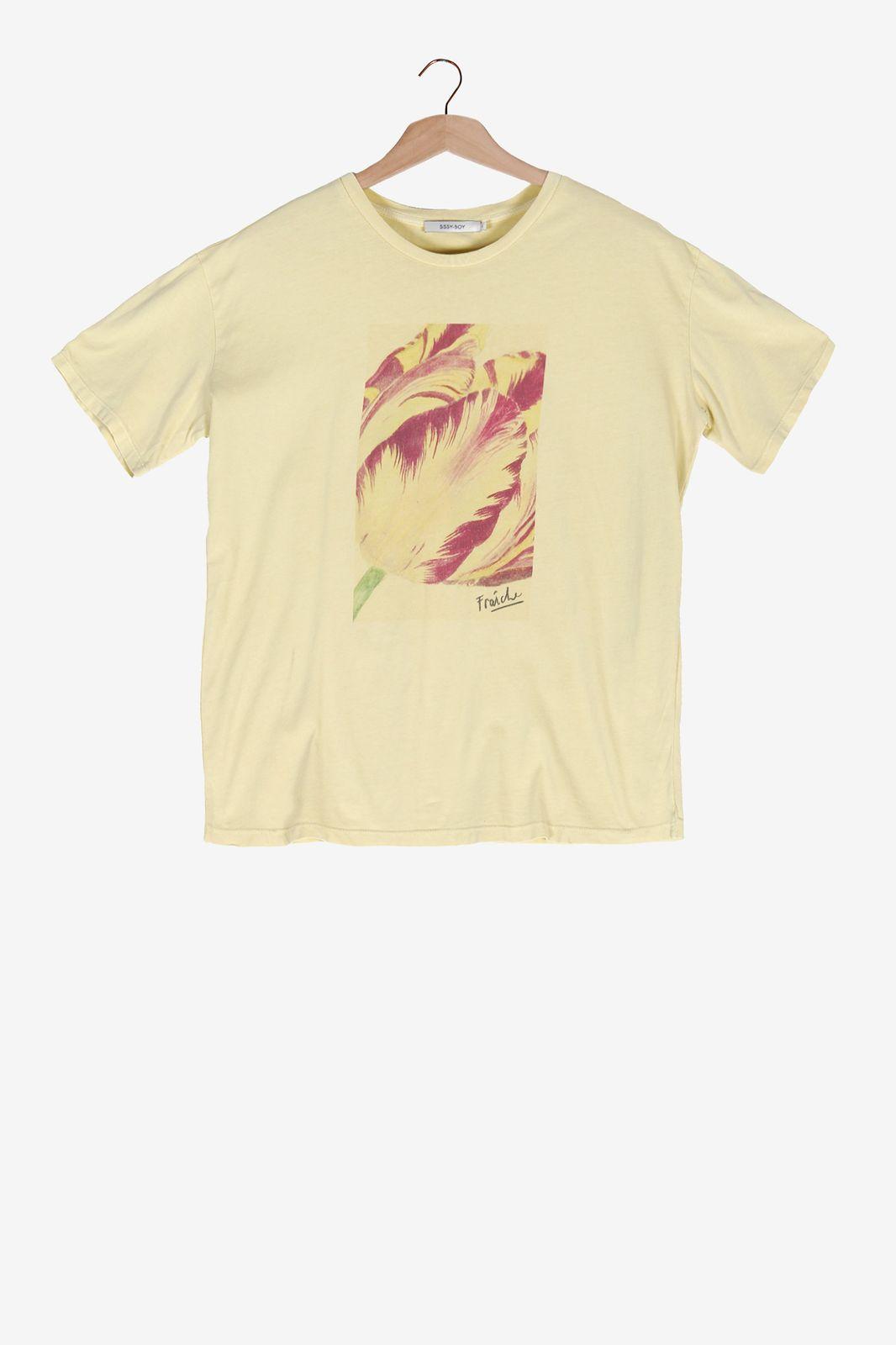 Lichtgeel t-shirt met printed tulp - Dames | Sissy-Boy