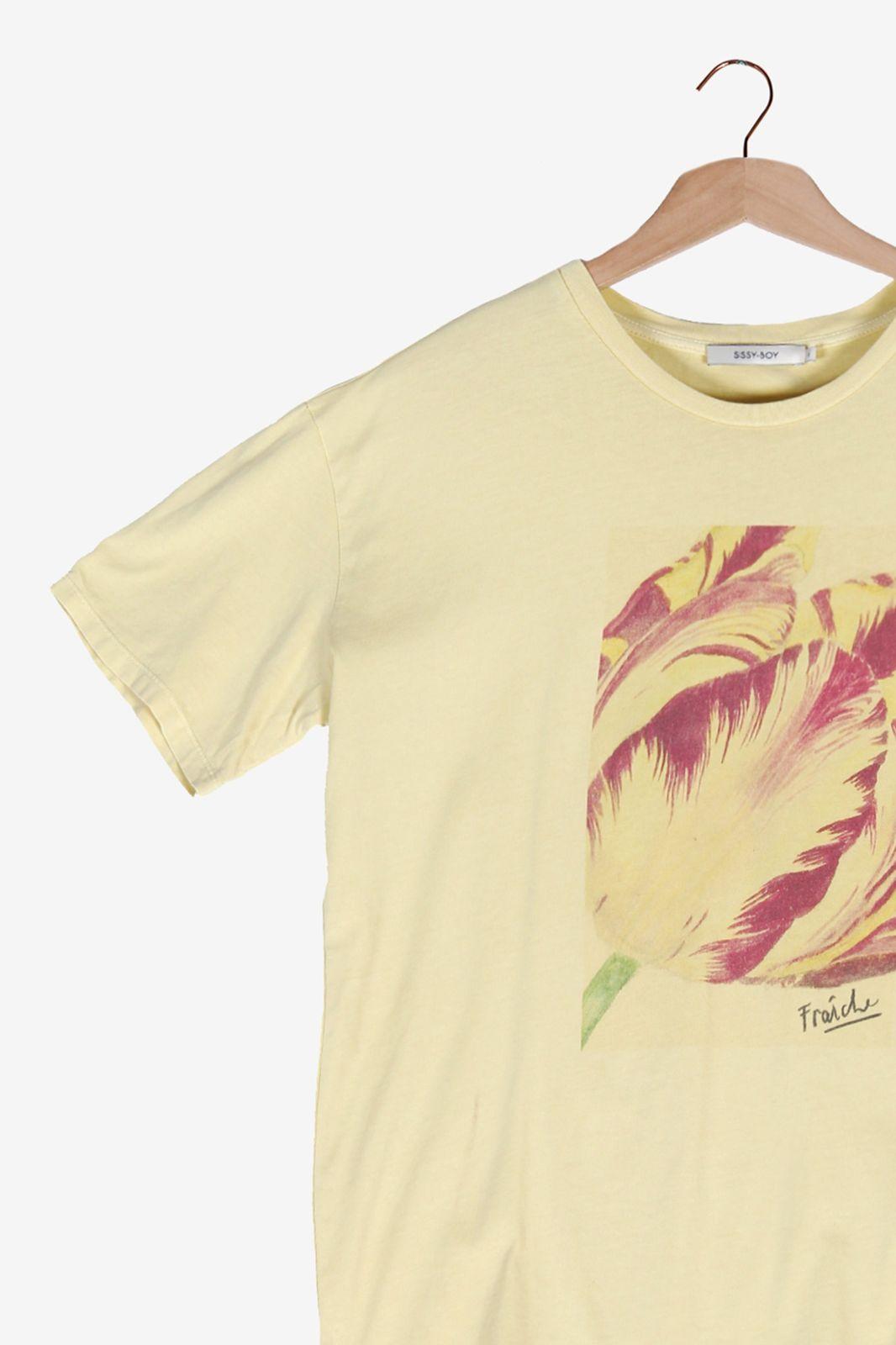 Lichtgeel t-shirt met printed tulp