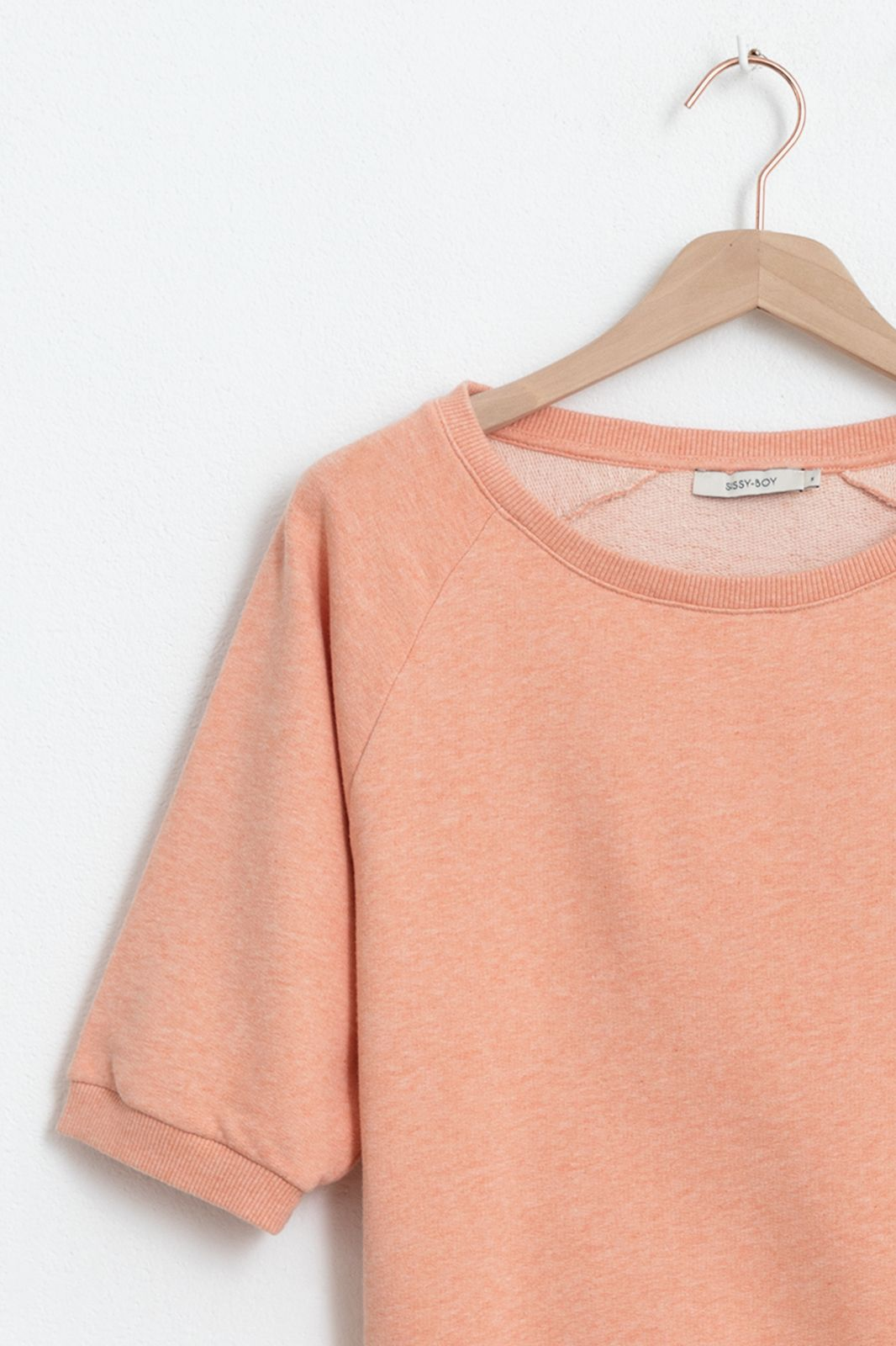 Oranje basic sweater met driekwart mouwen - Dames | Sissy-Boy