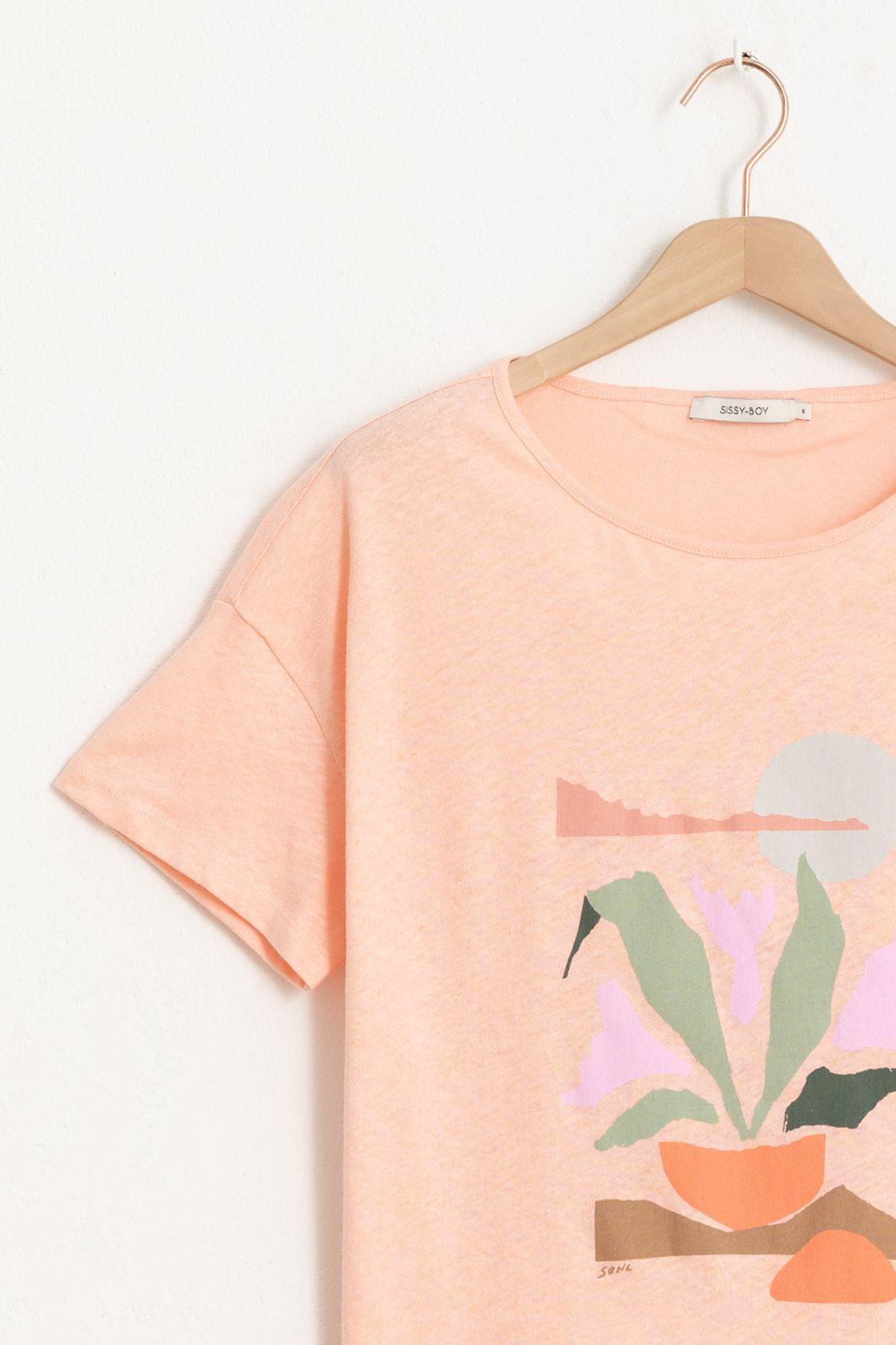 Oranje T-shirt met artwork - Dames | Sissy-Boy