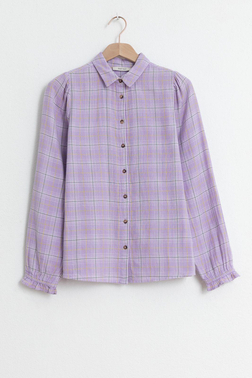 Lichtpaarse blouse ruiten - Dames | Sissy-Boy