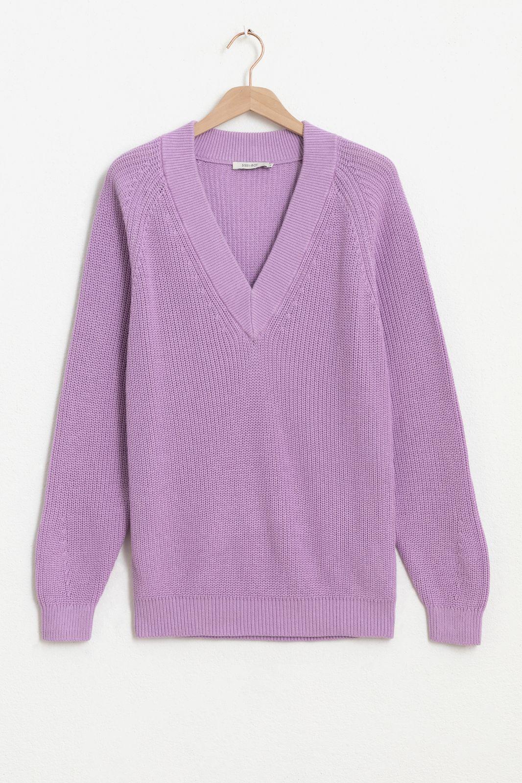 Paarse trui met V-neck
