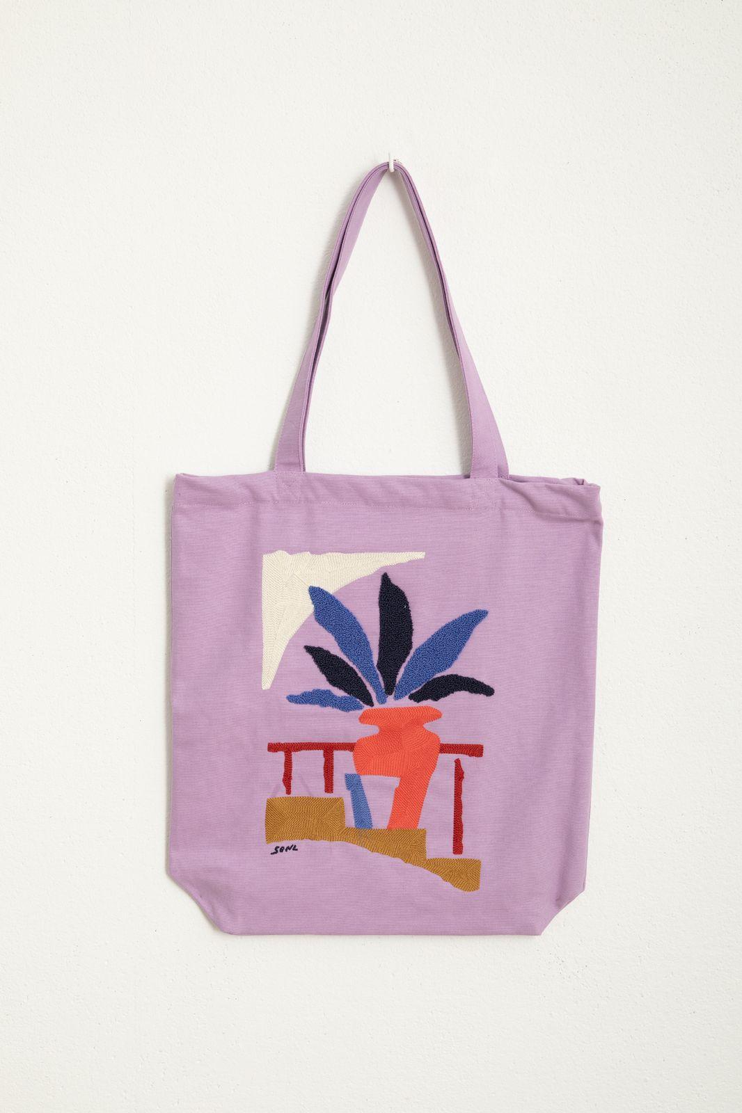 Lila canvas shopper met artwork