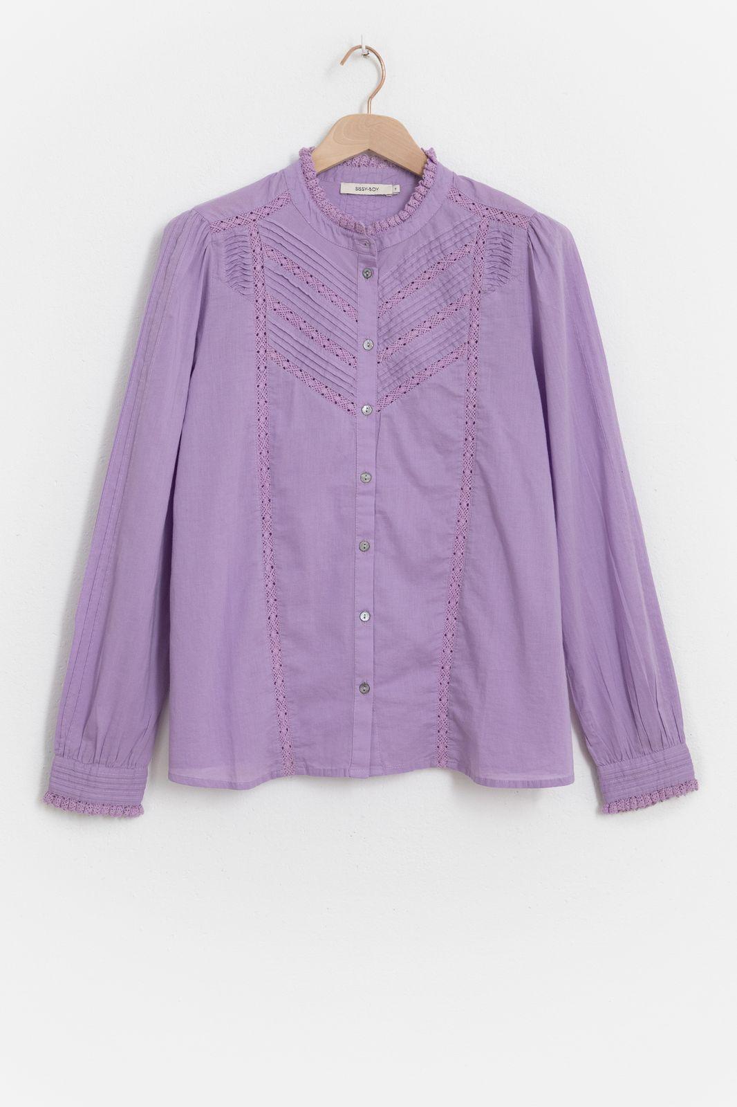 Lichtpaarse blouse met ruffles - Dames   Sissy-Boy