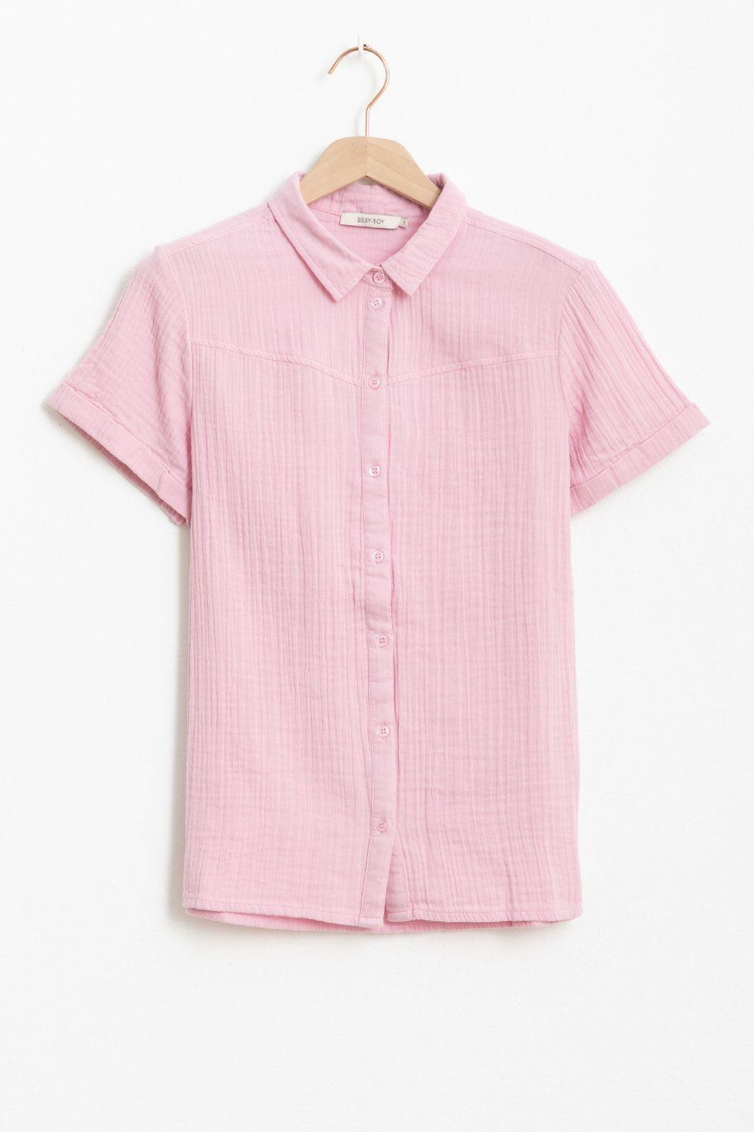 Roze mousseline blouse met korte mouwen