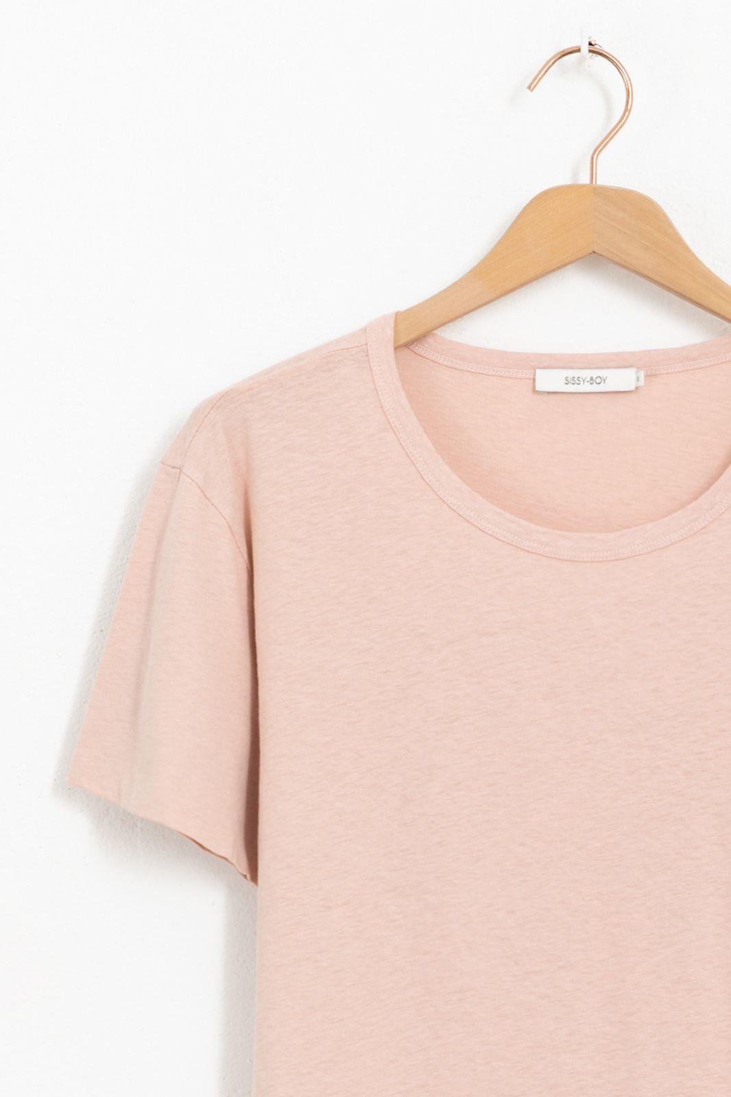 Lichtroze basic t-shirt met dubbele mouw - Dames | Sissy-Boy