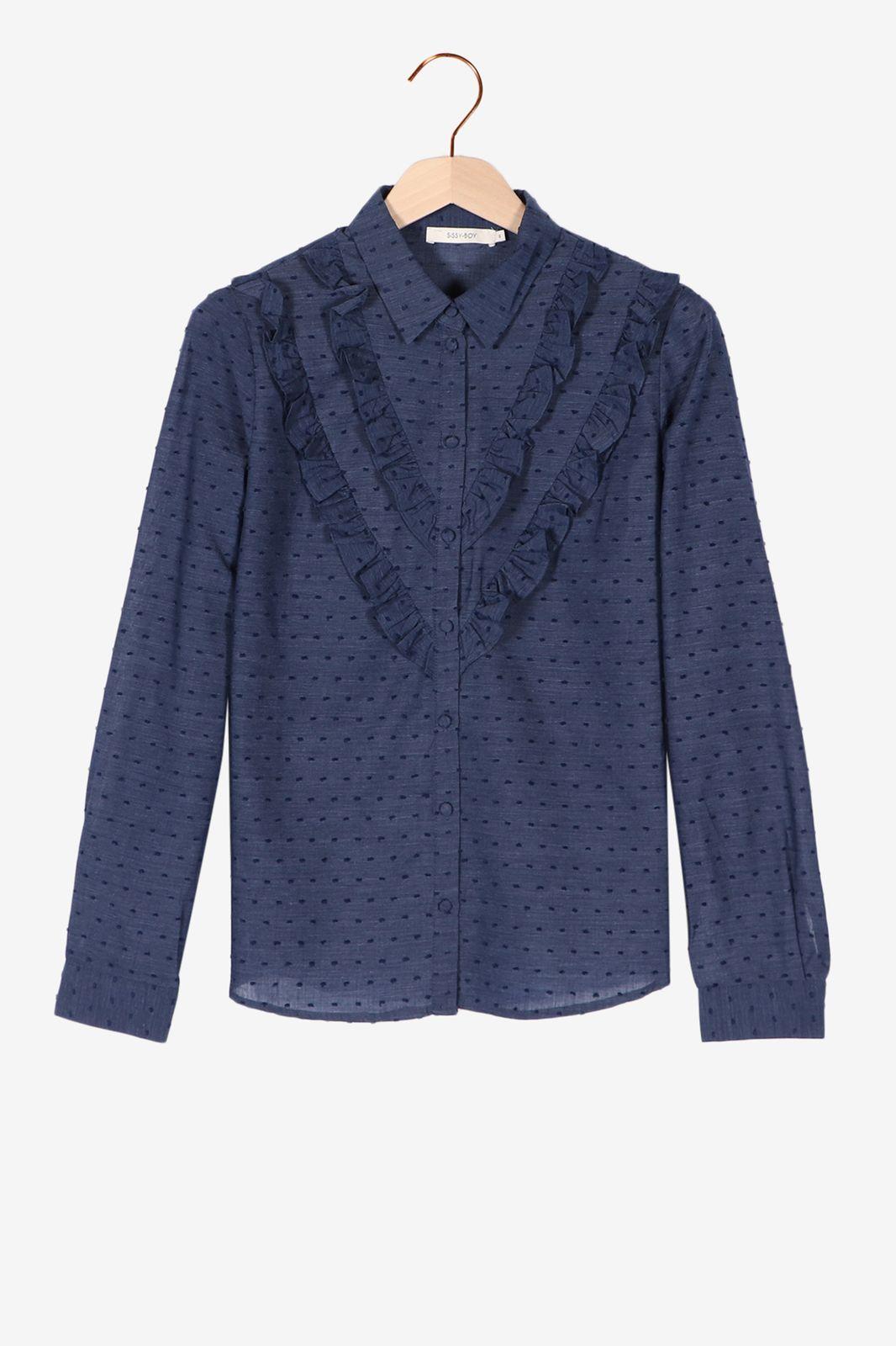 Blauwe blouse met stippen en ruffles - Dames | Sissy-Boy