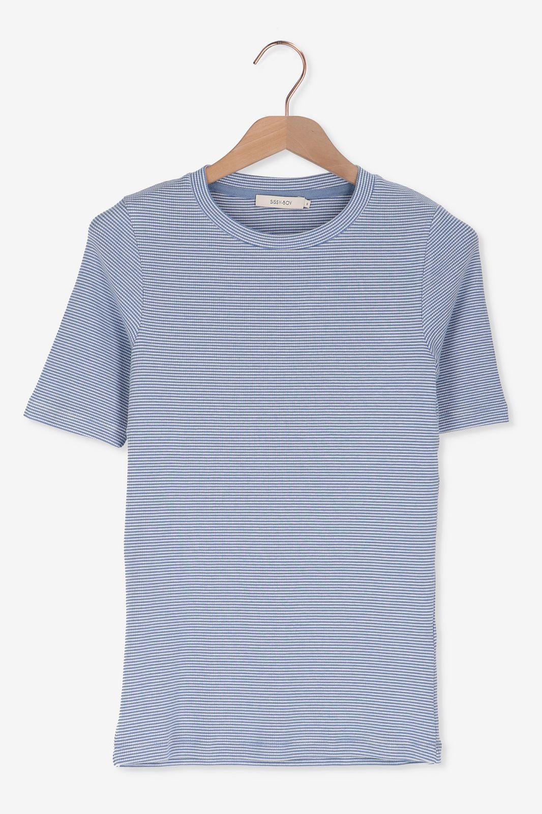 Blauw hoogsluitend t-shirt strepen