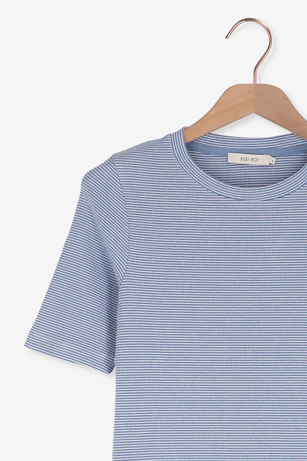 Blauw hoogsluitend t-shirt strepen - Dames | Sissy-Boy