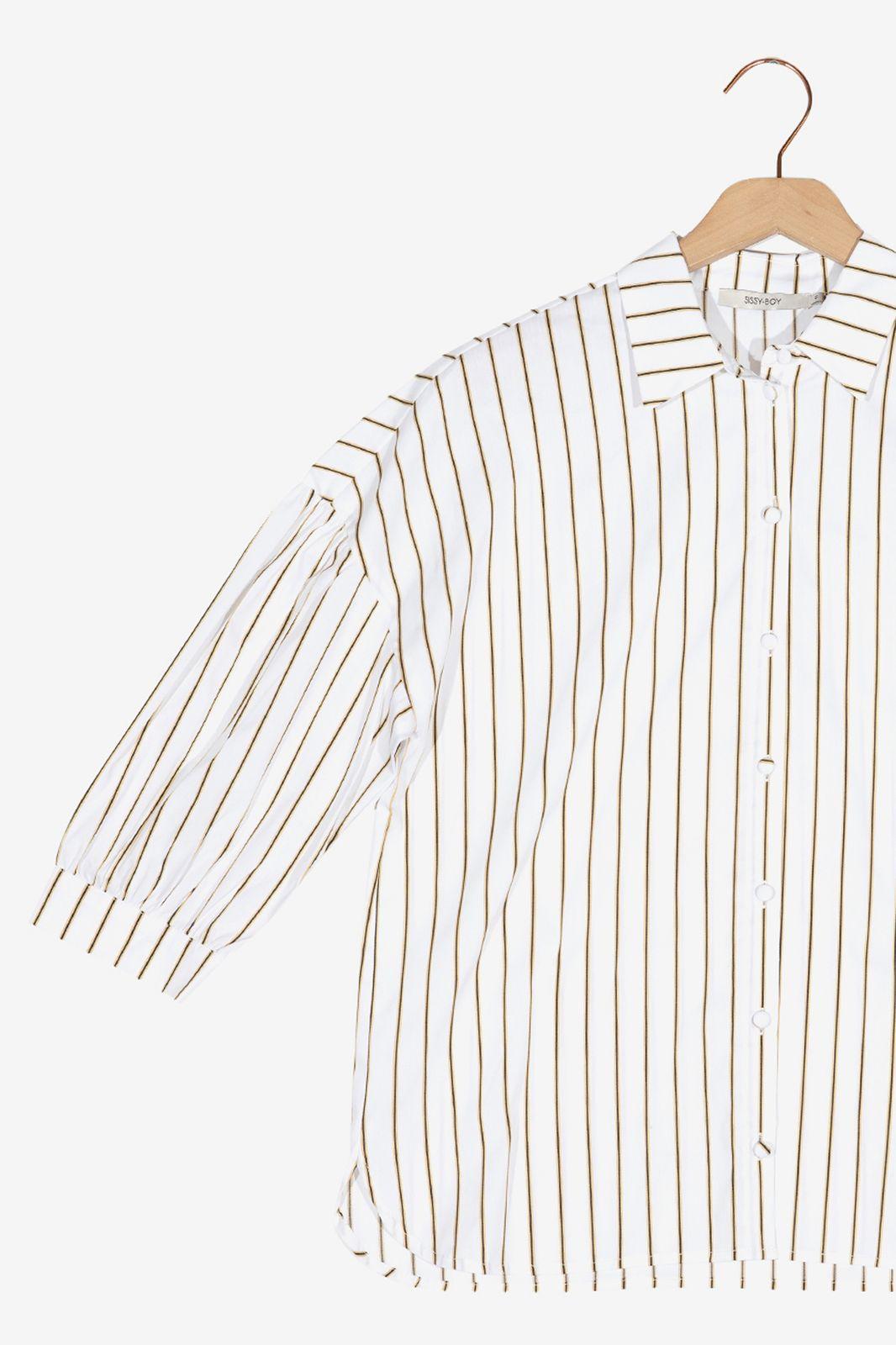 Witte blouse met zwarte strepen - Dames   Sissy-Boy