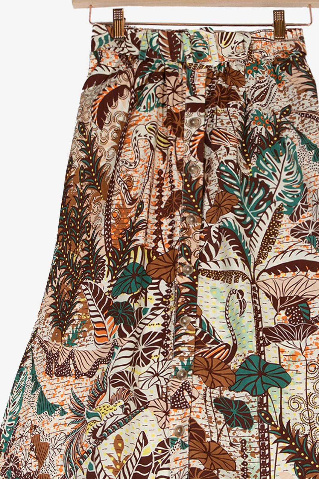 Multicolor rok met bloemenprint