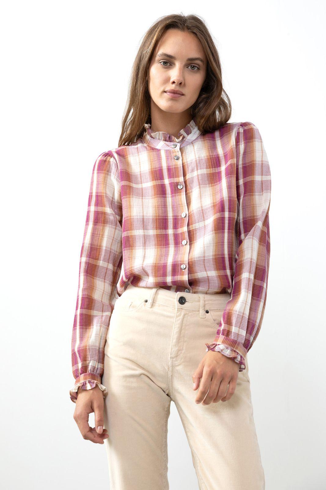 Rode ruitjes blouse met ruffle details - Dames | Sissy-Boy