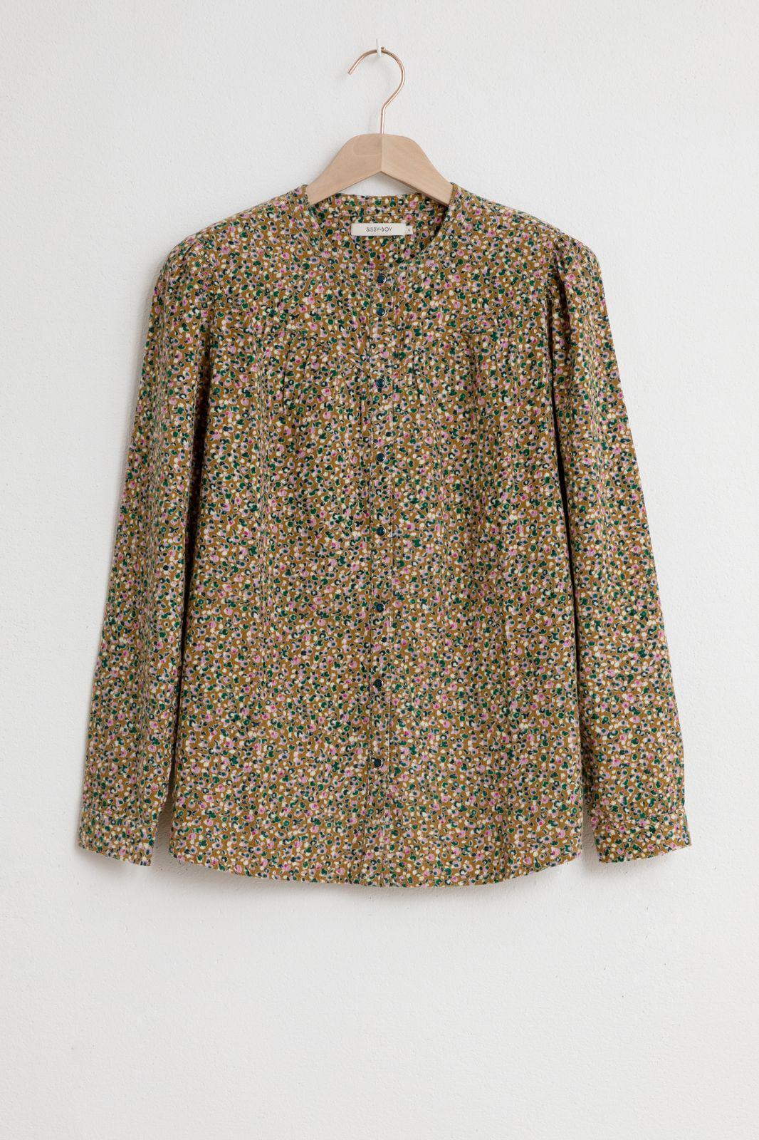 Corduroy blouse met all over print