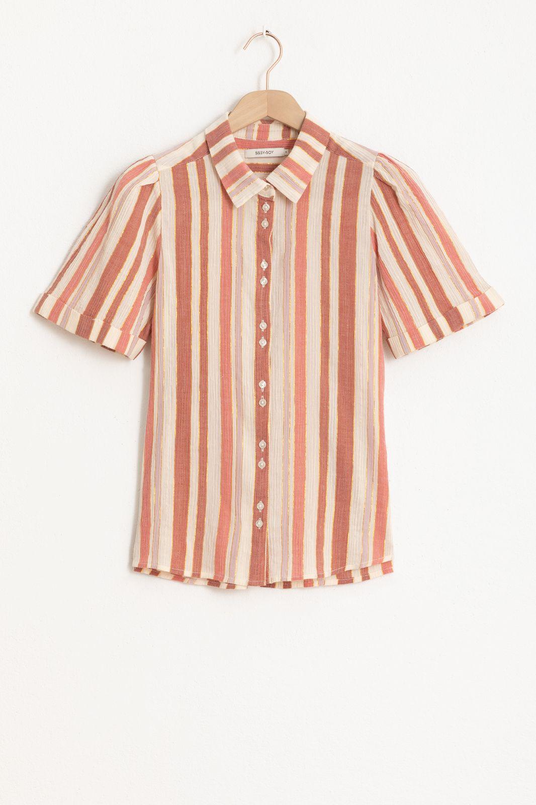 Multicolor gestreepte blouse met korte mouw en lurex