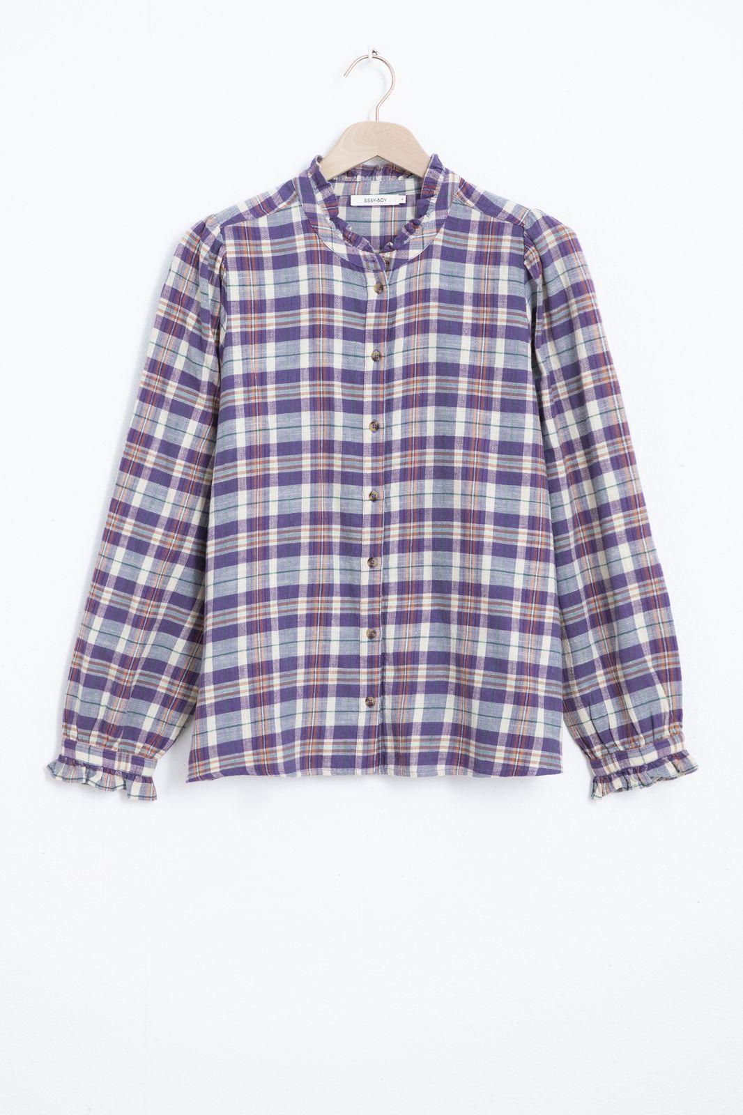Geruite blouse met ruffle kraag - Dames | Sissy-Boy