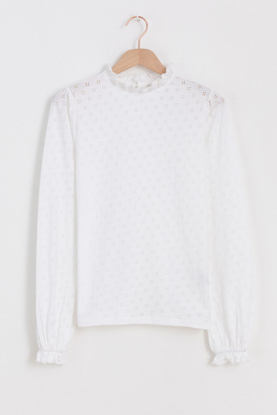 Wit ajour shirt met ruffle - Dames | Sissy-Boy