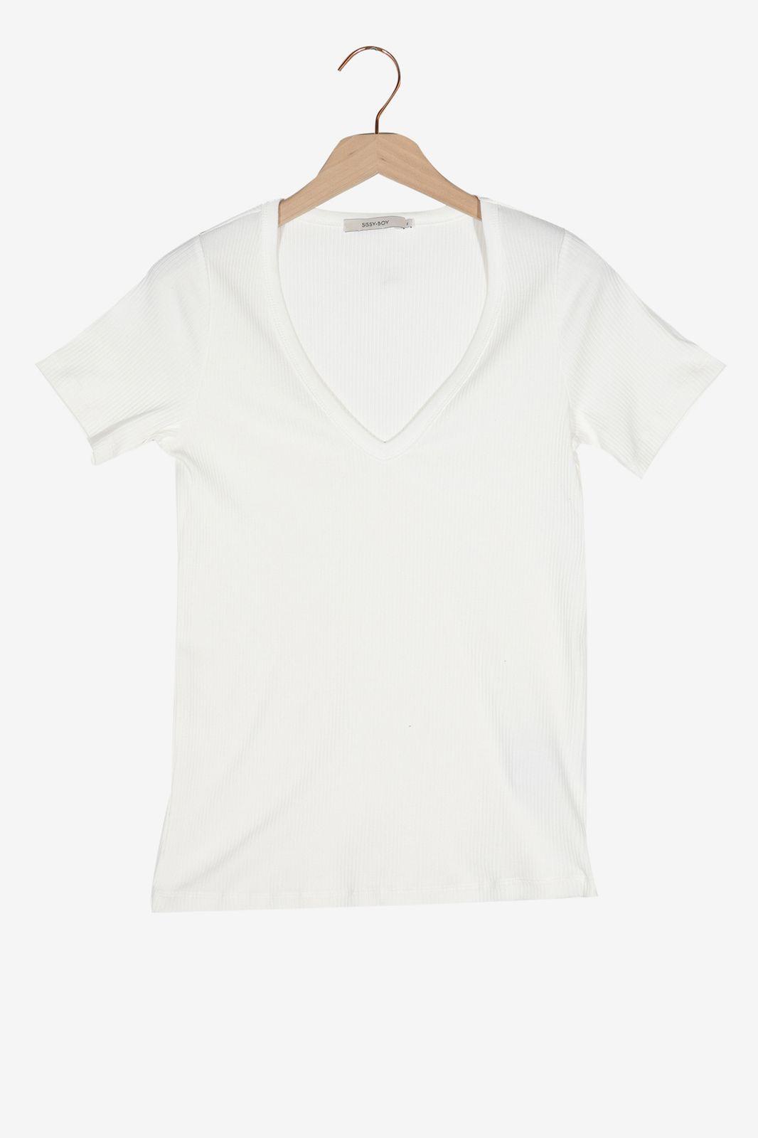 Offwhite T-shirt met V-hals