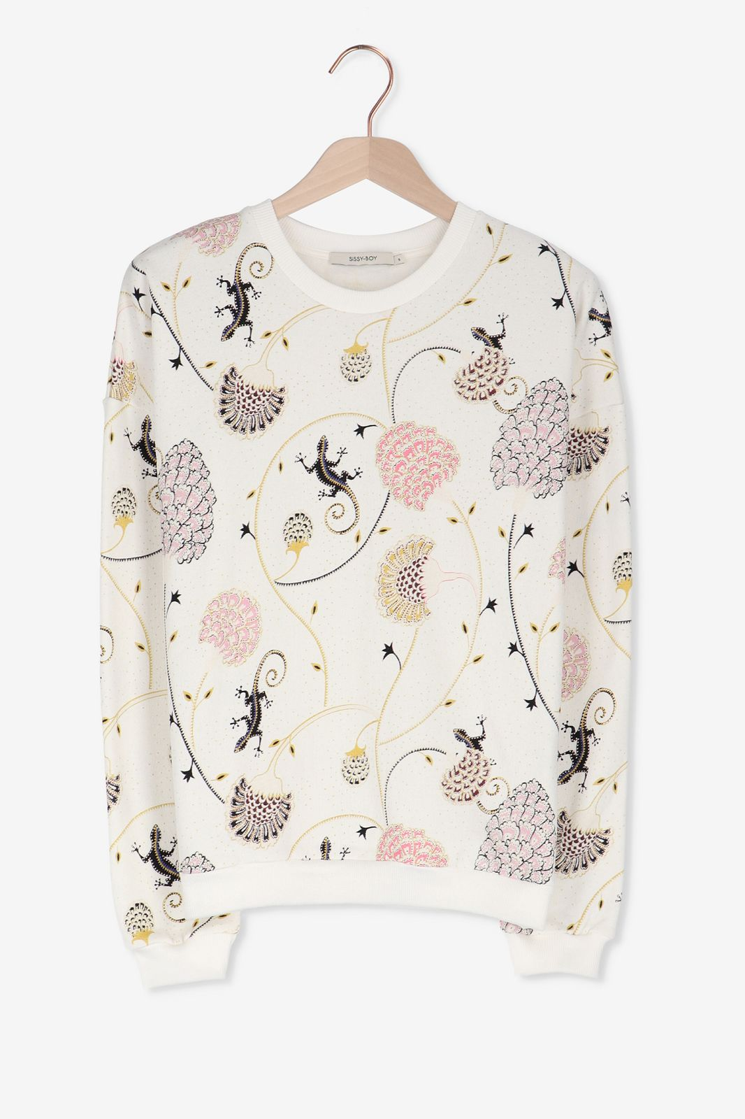 Offwhite sweater met allover print