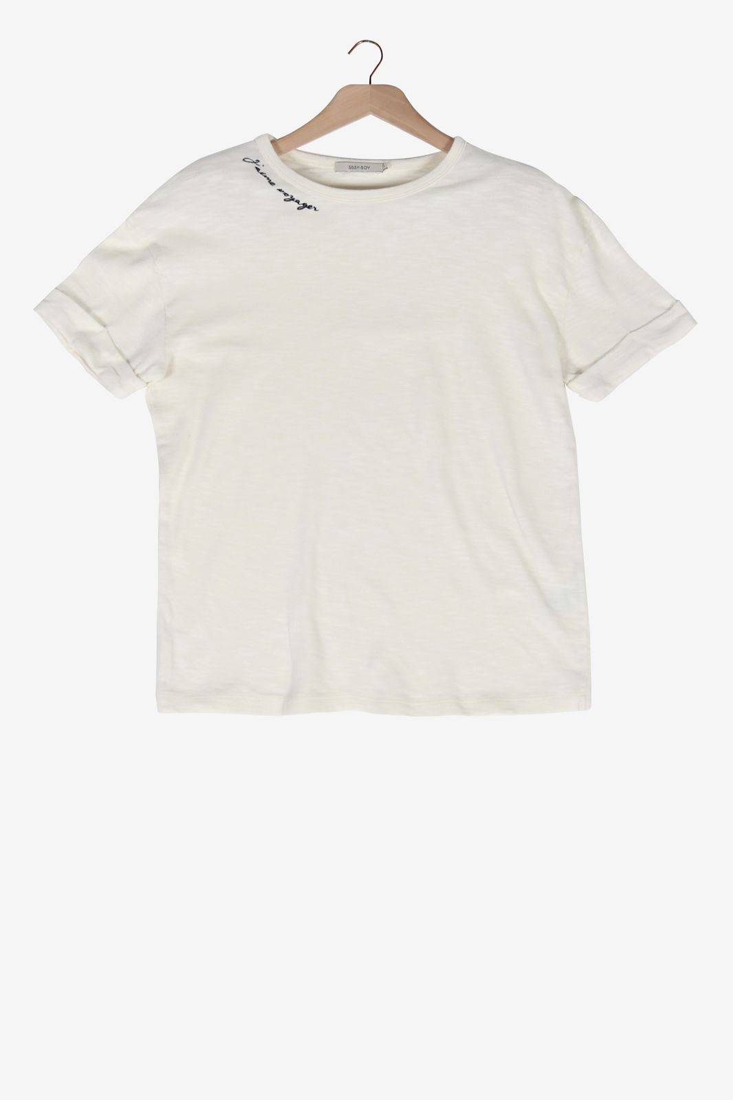 Off white t-shirt j'aime voyager