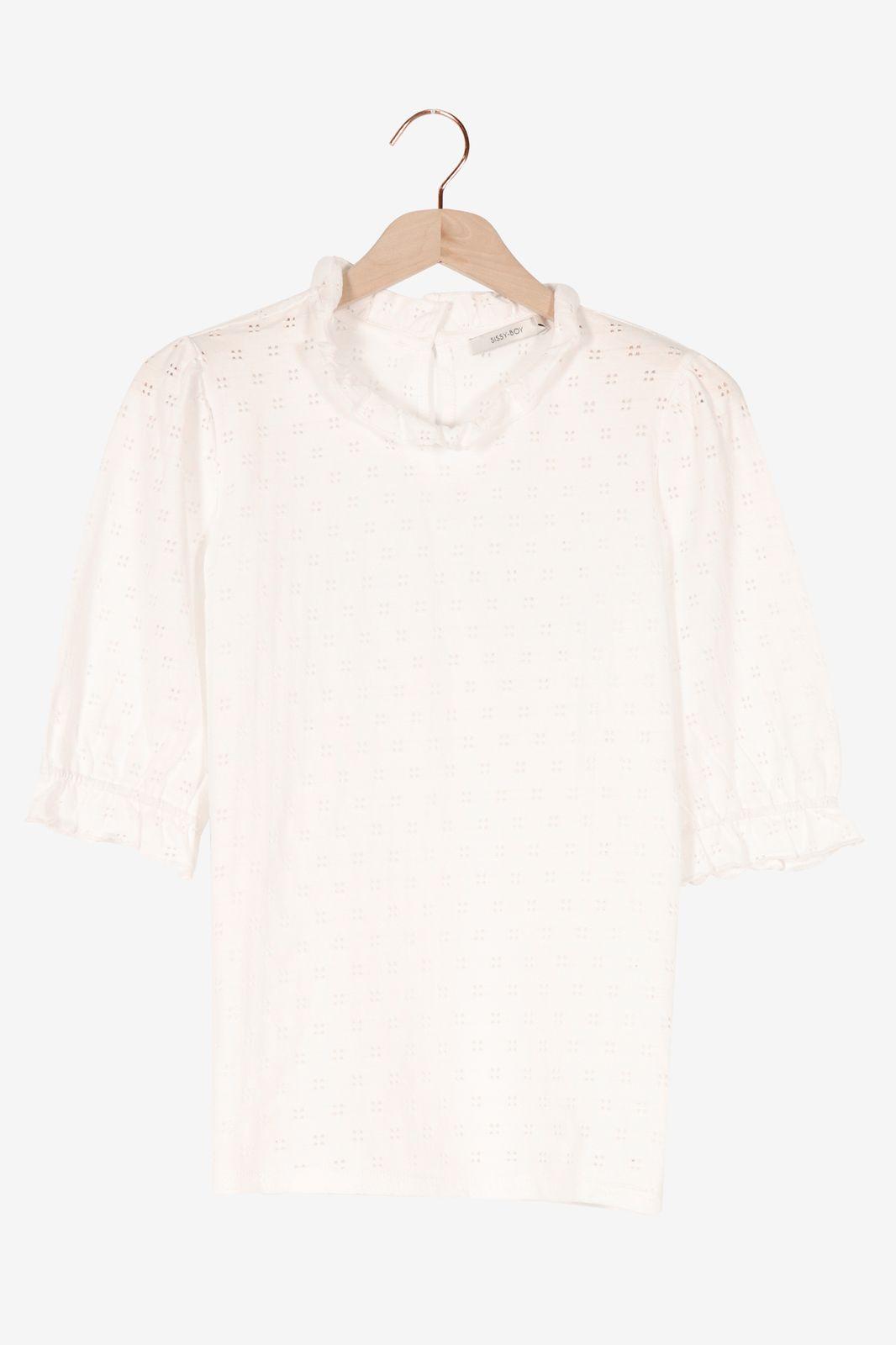 Wit t-shirt met borduursel