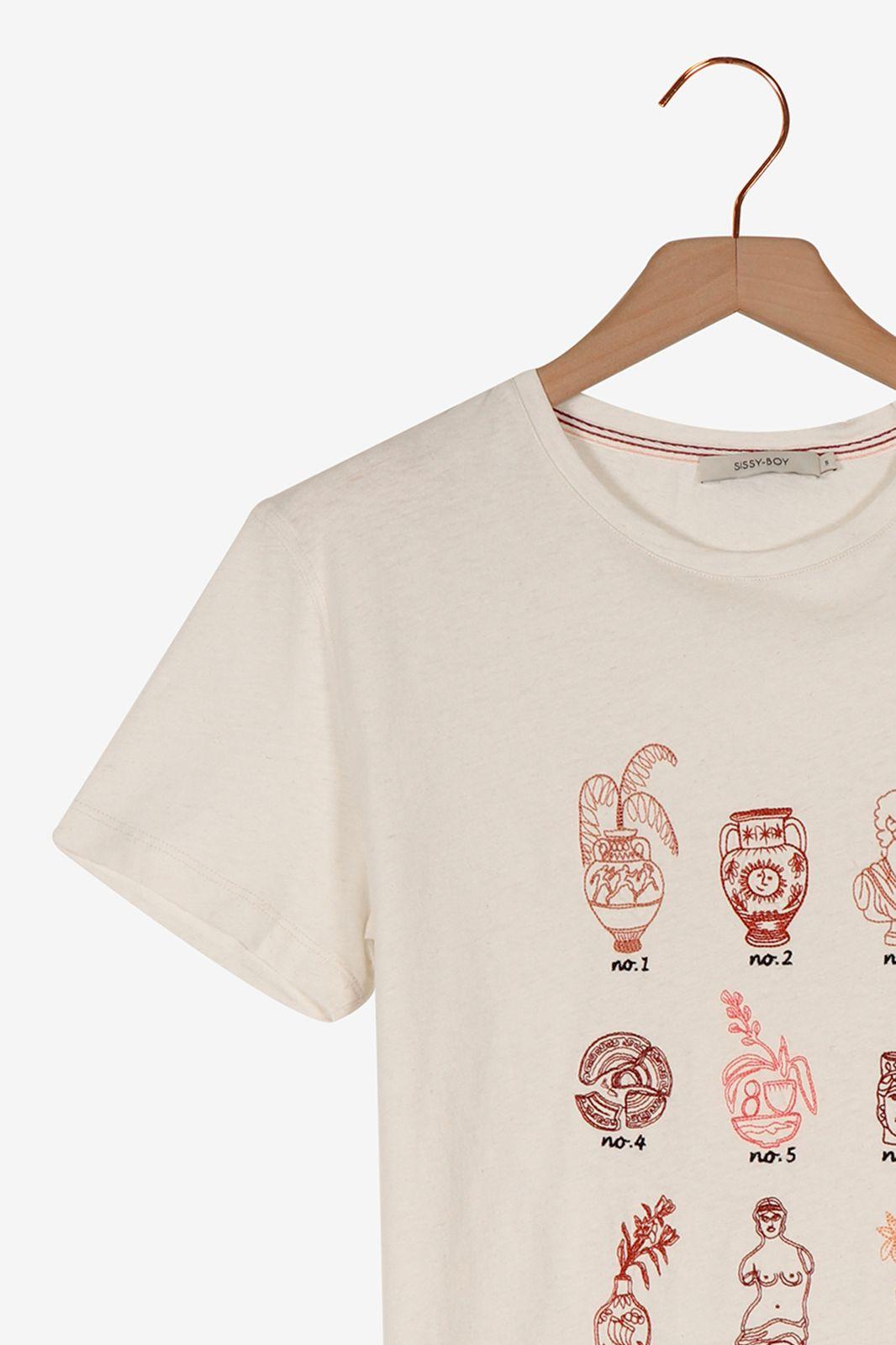 Offwhite t-shirt met borduursels