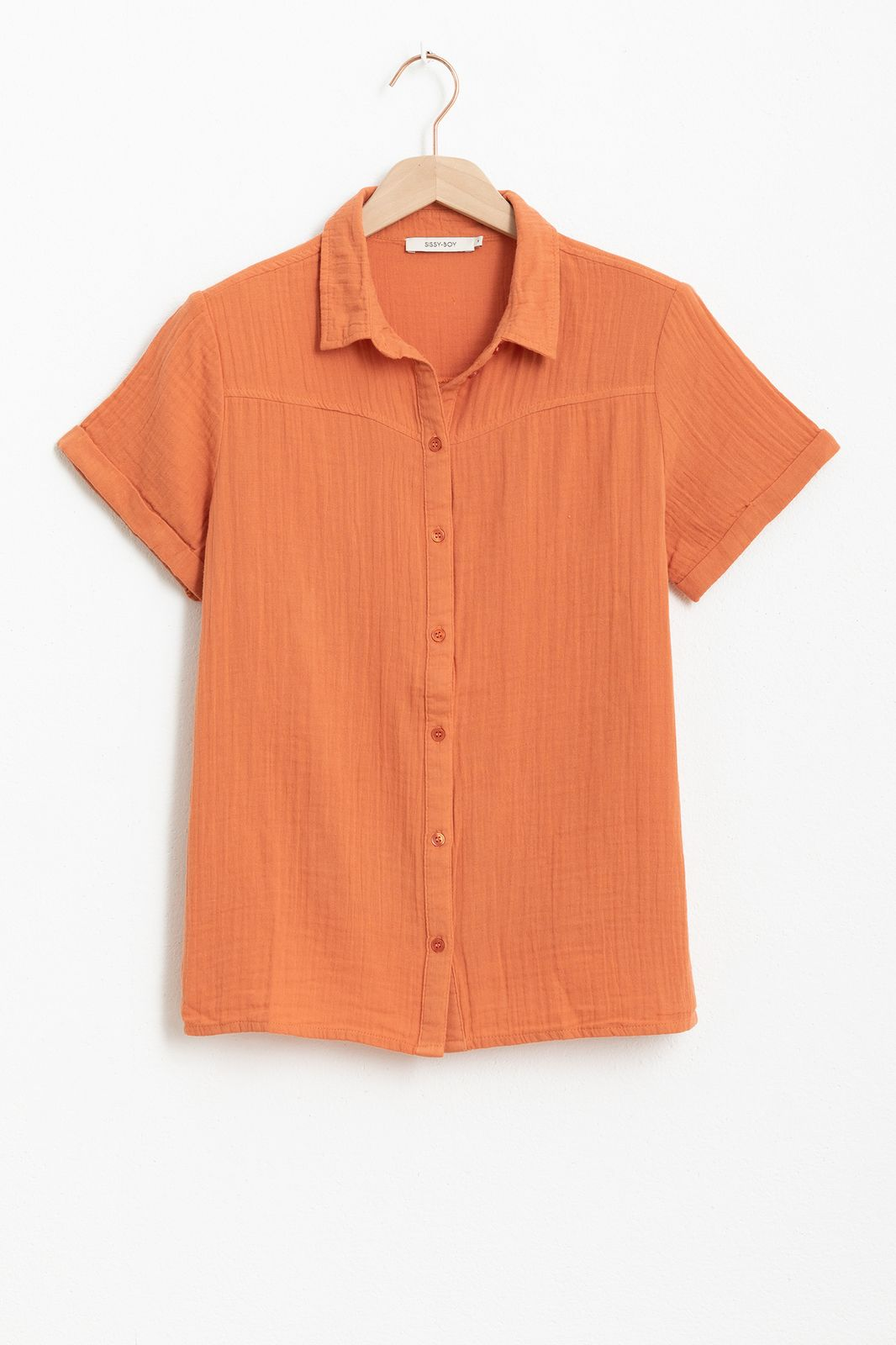 Oranje mousseline blouse met korte mouwen - Dames | Sissy-Boy
