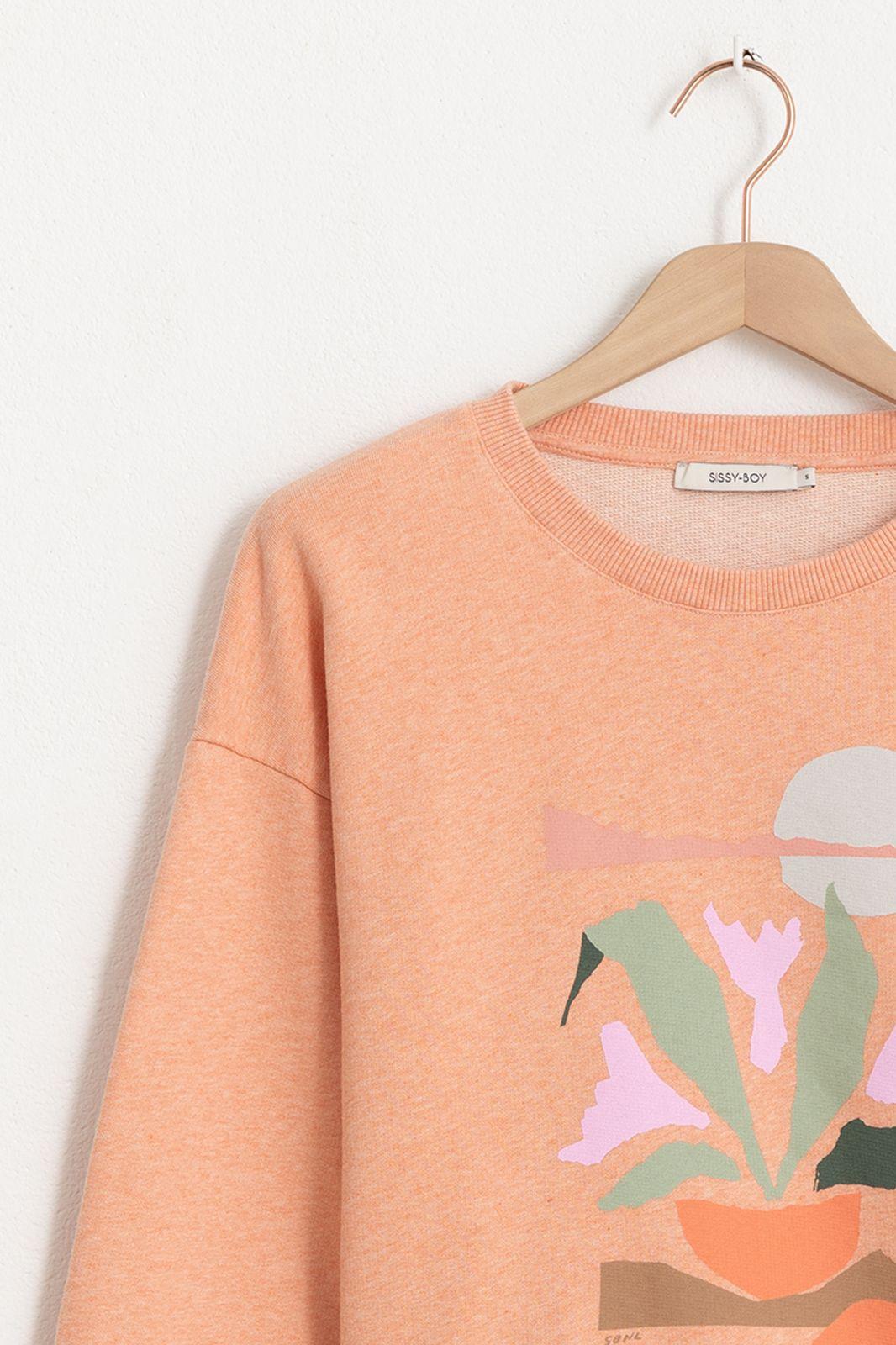 Oranje sweater met artwork - Dames | Sissy-Boy