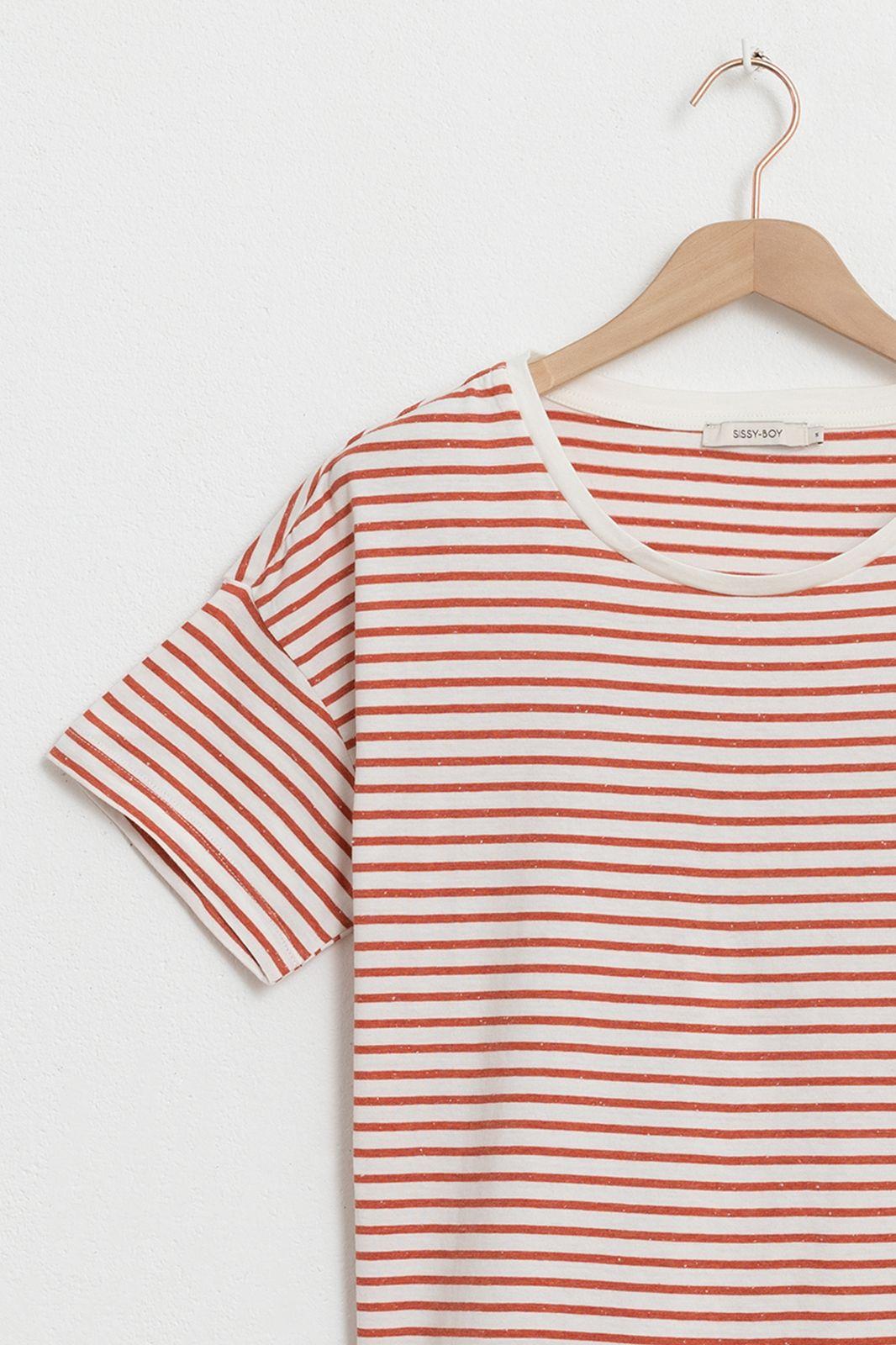 Oranje T-shirt gestreept met sinaasappel embroidery - Dames | Sissy-Boy