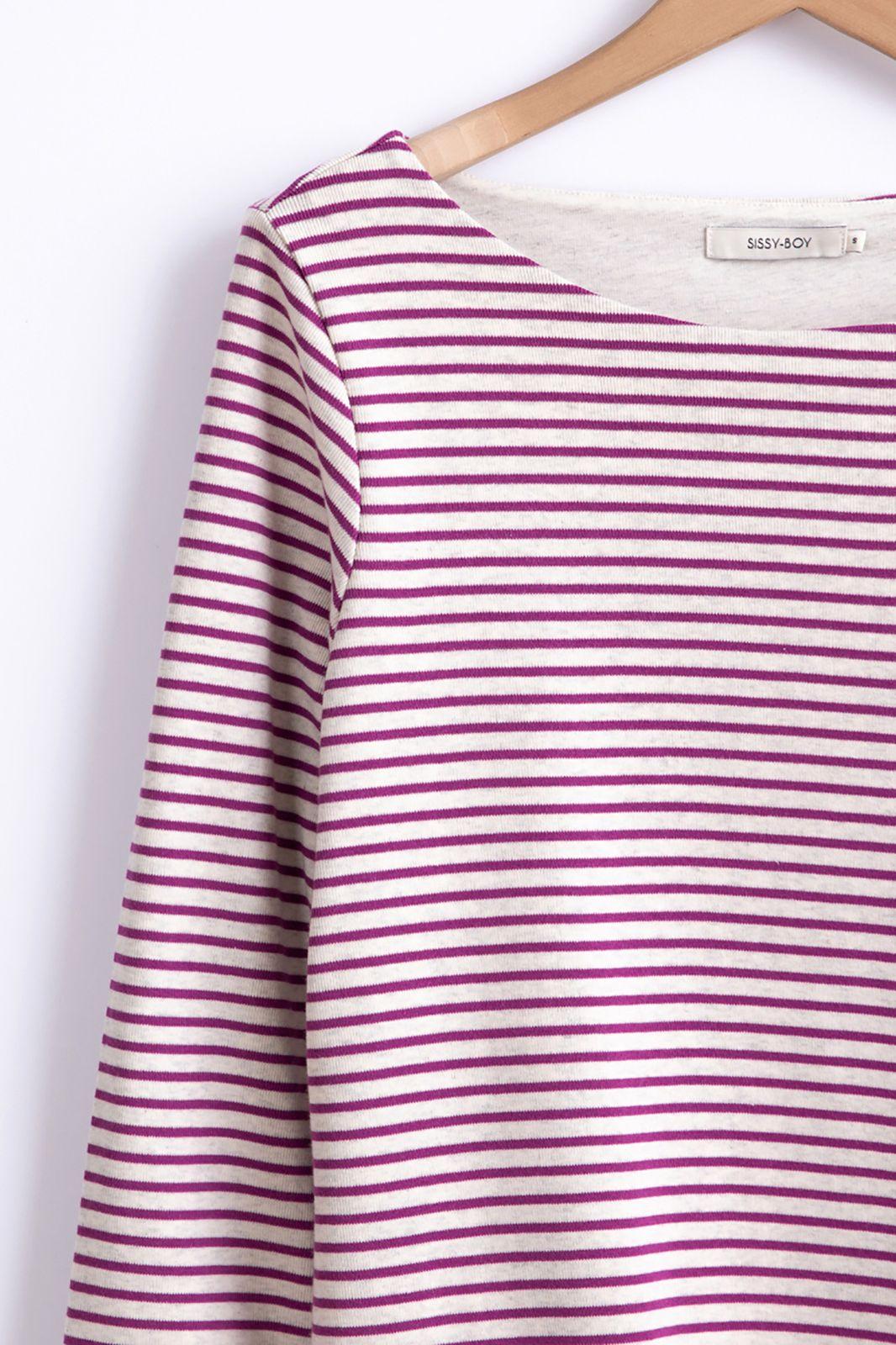 Paars gestreept t-shirt - Dames | Sissy-Boy