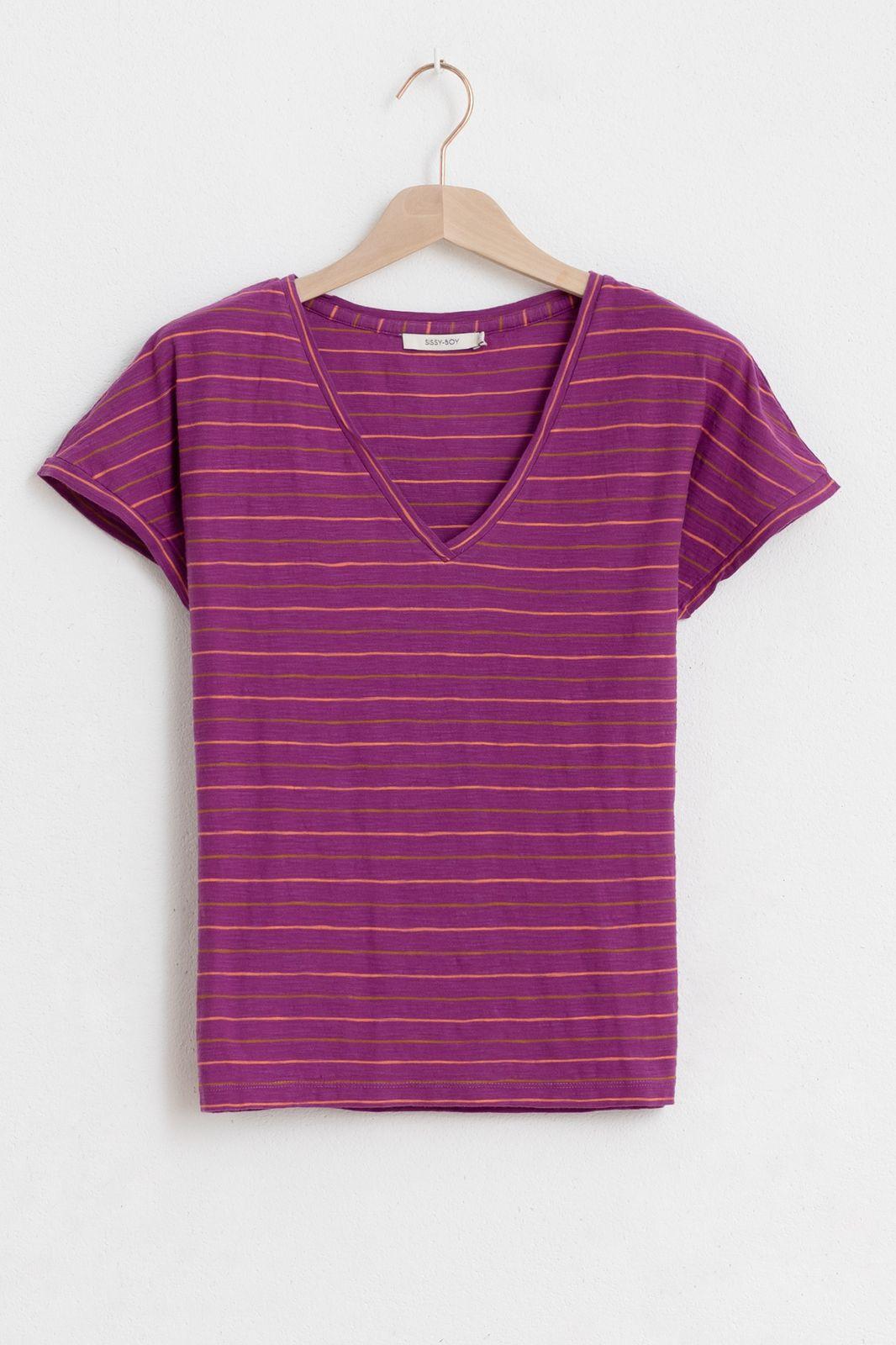 Paars gestreept t-shirt met v-hals - Dames | Sissy-Boy