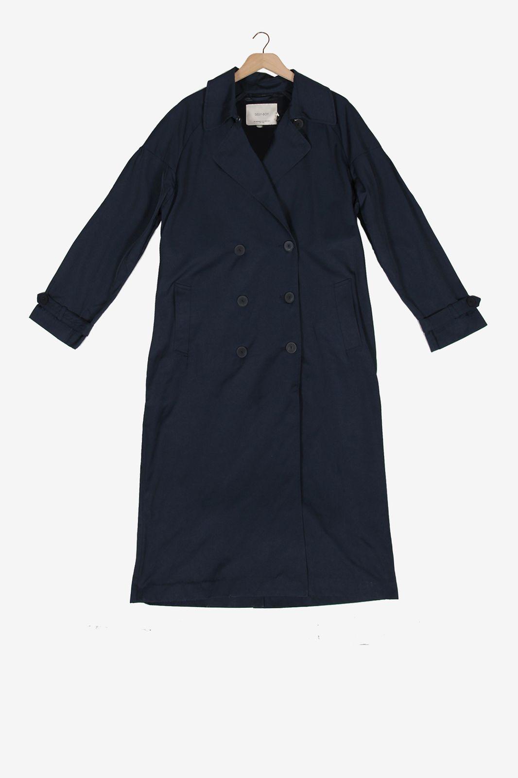 Donkerblauwe trenchcoat