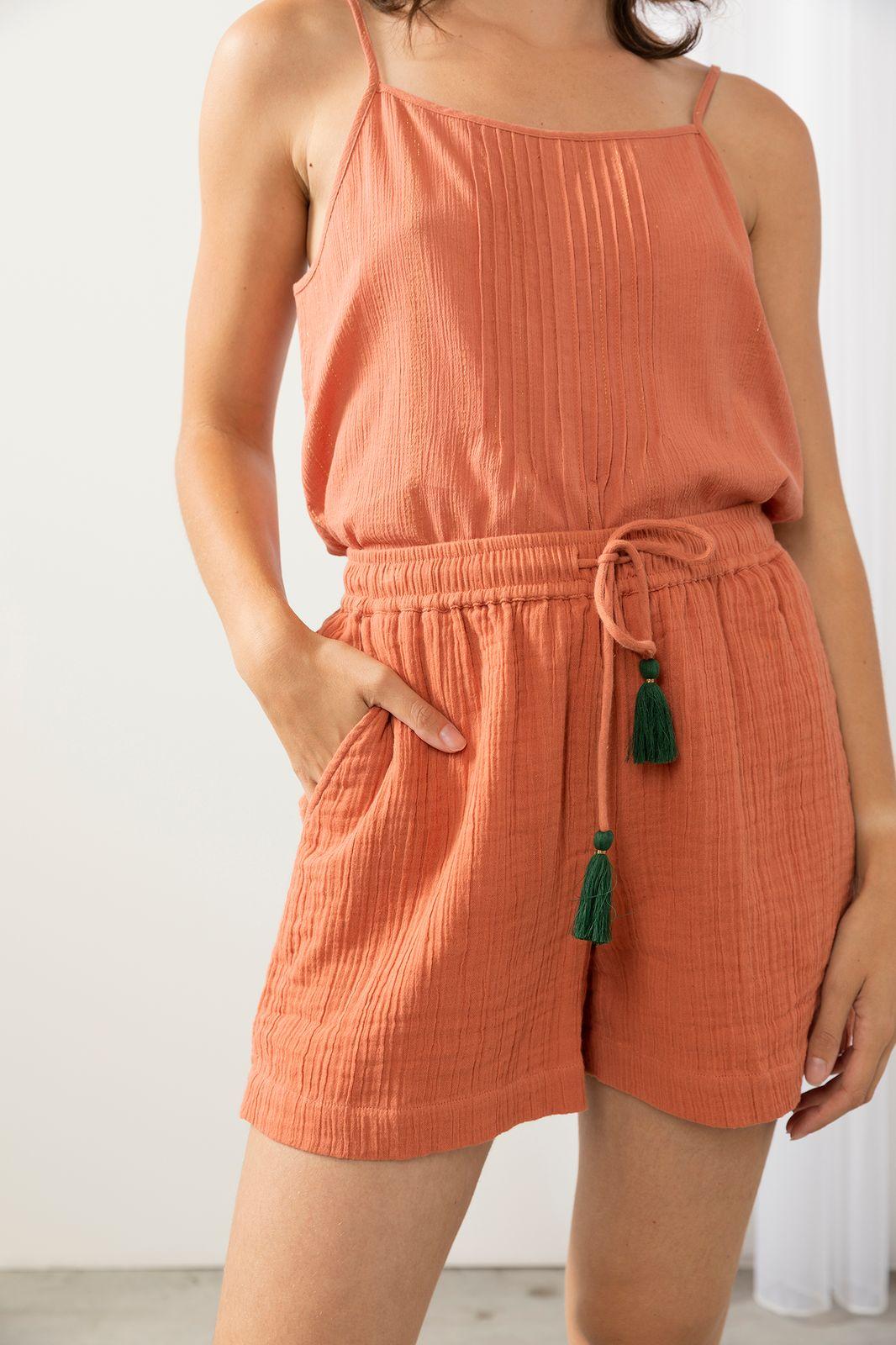 Zachtroze shorts met tassle - Dames   Sissy-Boy